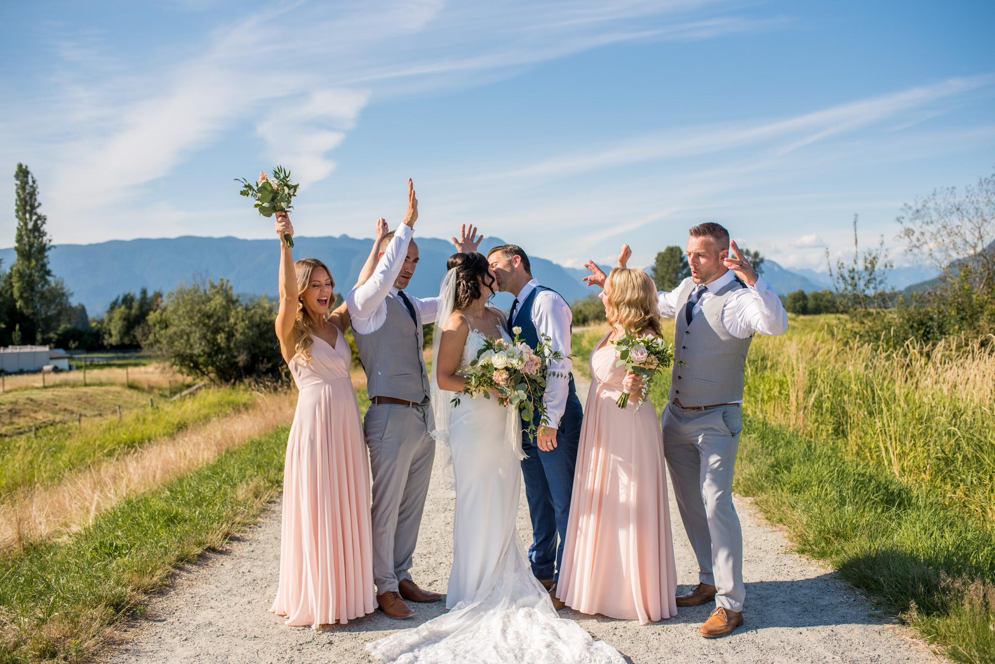 Bridal Party in front of mountains in Maple Ridge BC