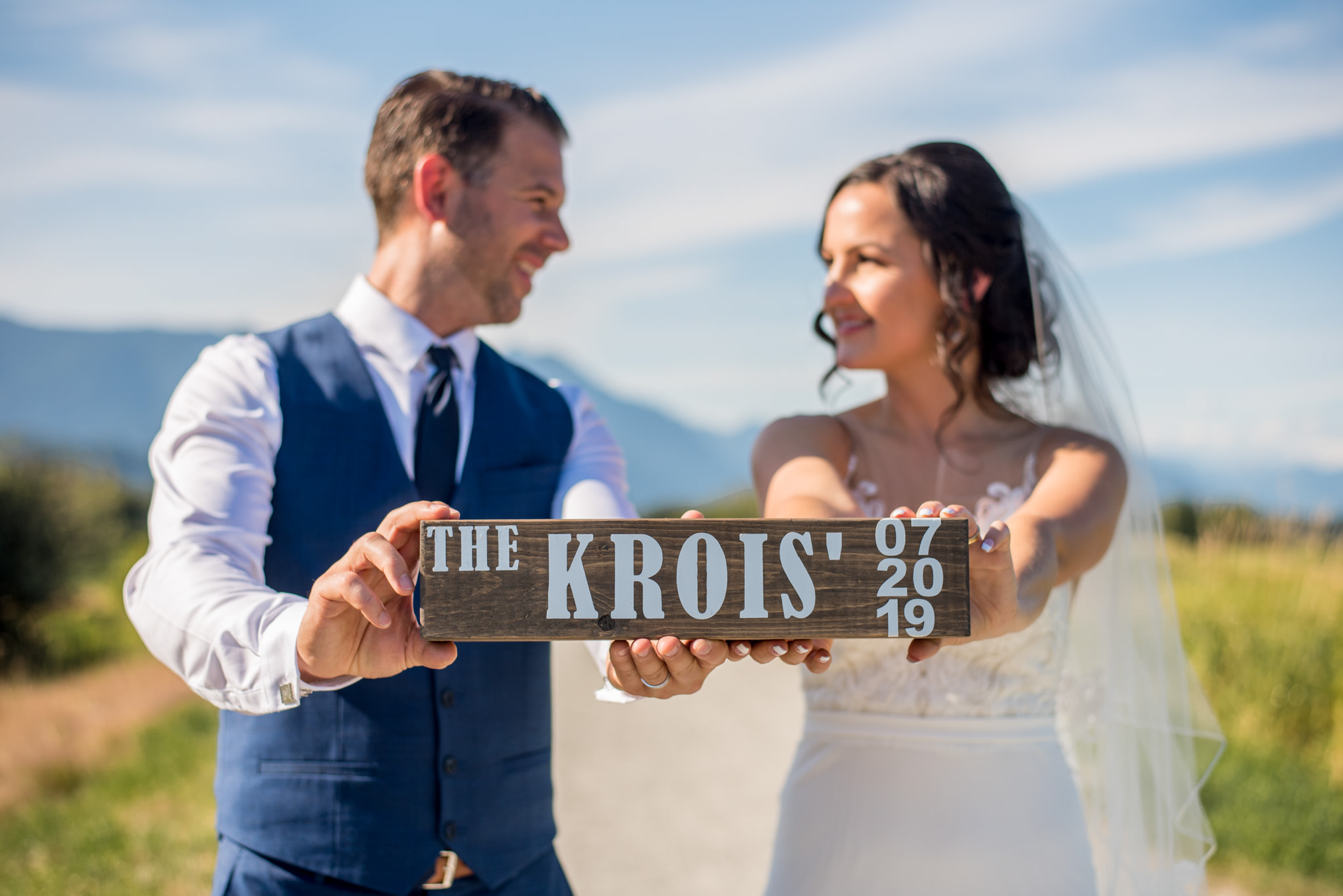 Bride and Groom with their shot-ski in Maple Ridge BC, Canada