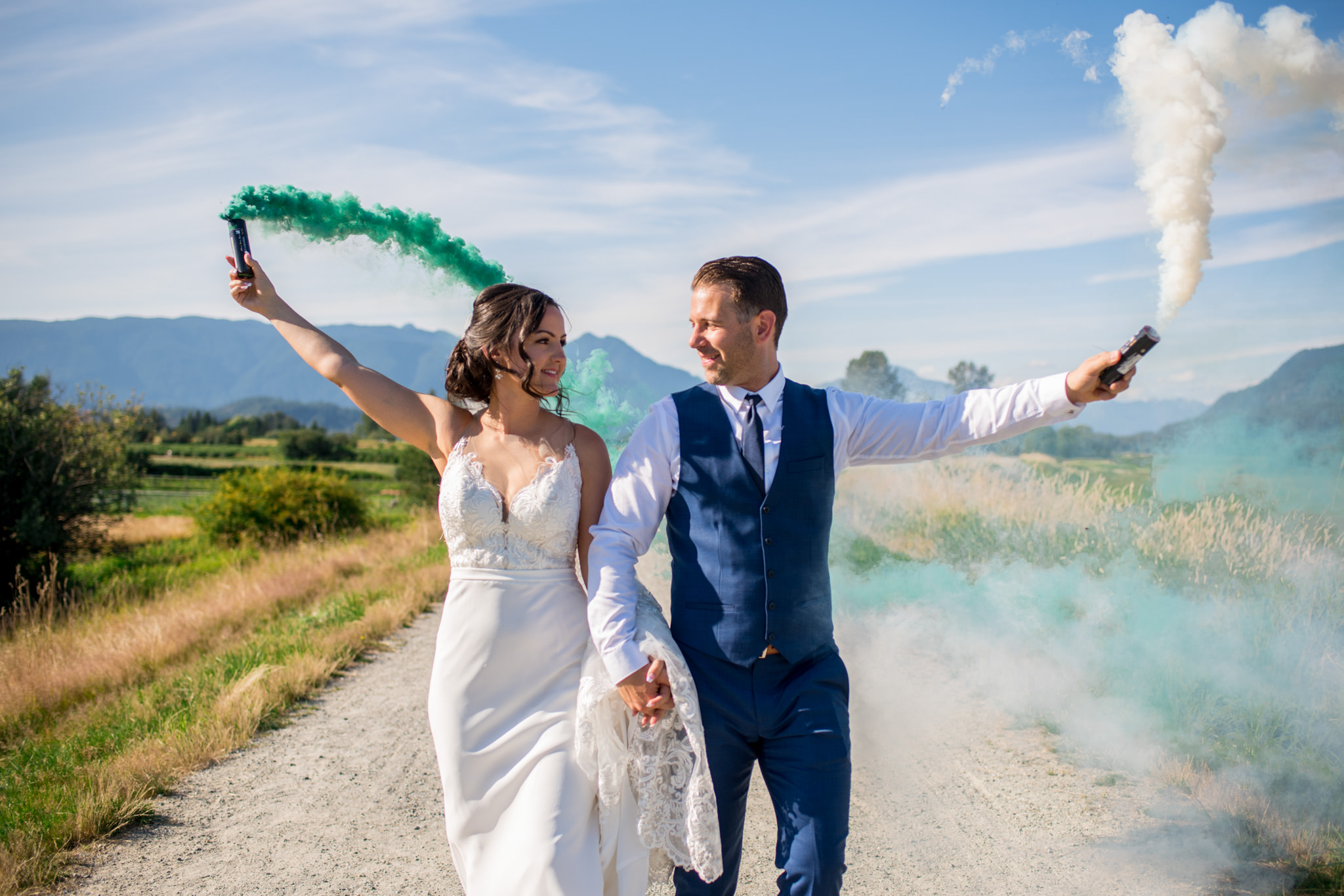 Wedding Couple with smoke bombs in BC Canada