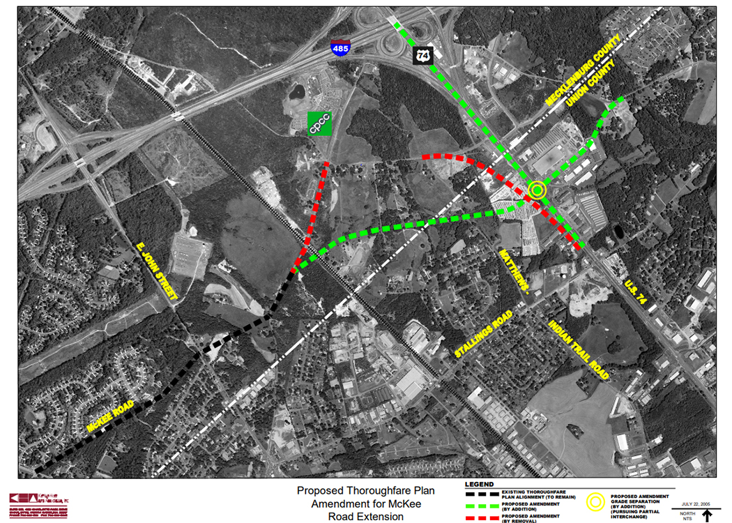 Proposed thoroughfare plan for McKee Rd Extension, via the    Town of Matthews website   .
