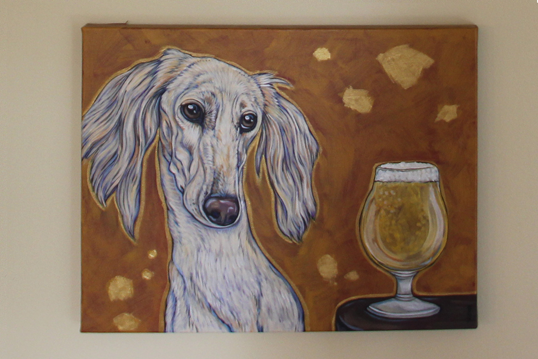 "The series ""Beer Dogs"" will soon be on display at Temple Mojo in downtown Matthews.  Photo by Cyma Shapiro"