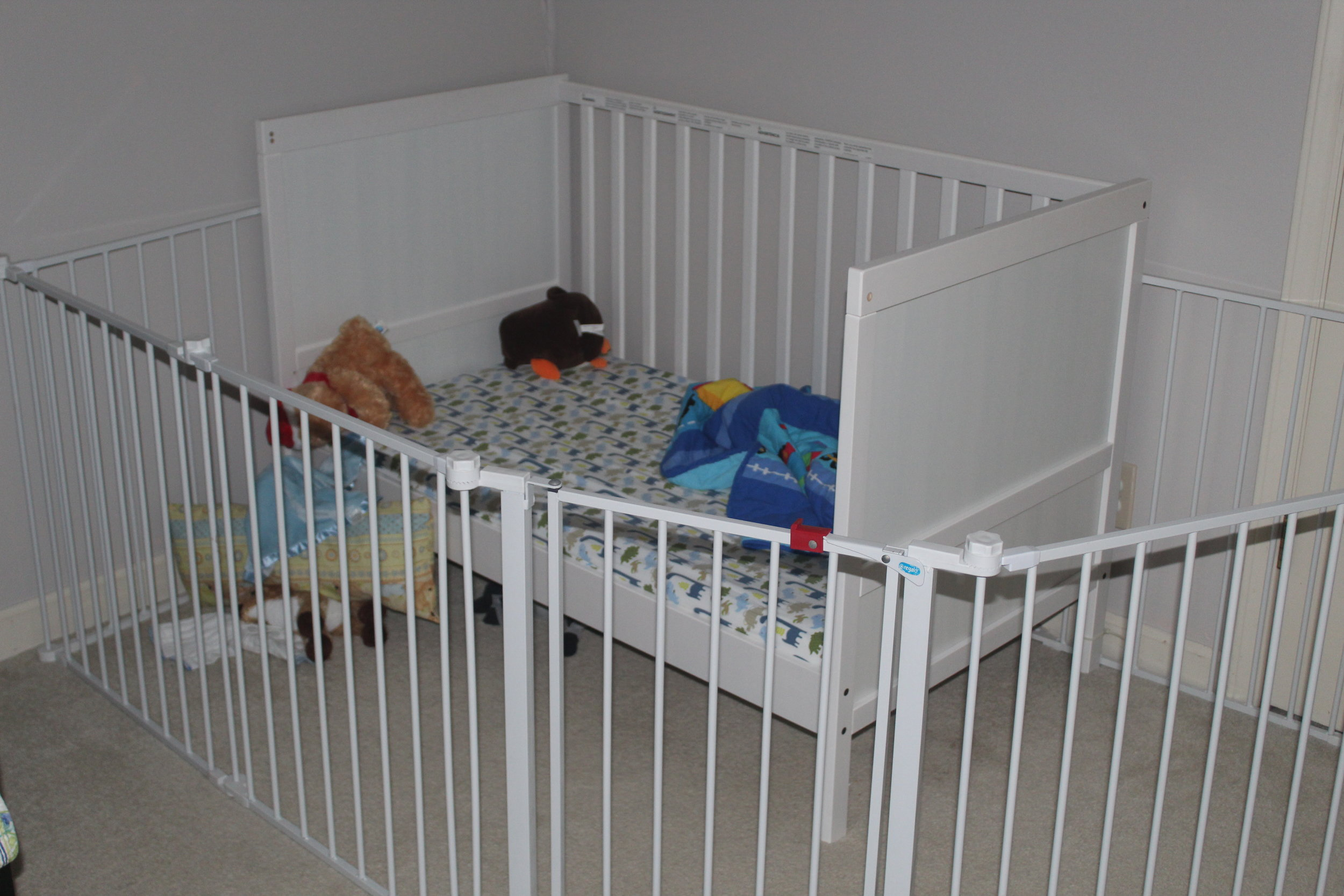 Crib rails and baby gates are merely training devices for the youngest's future Ninja Warrior care er.