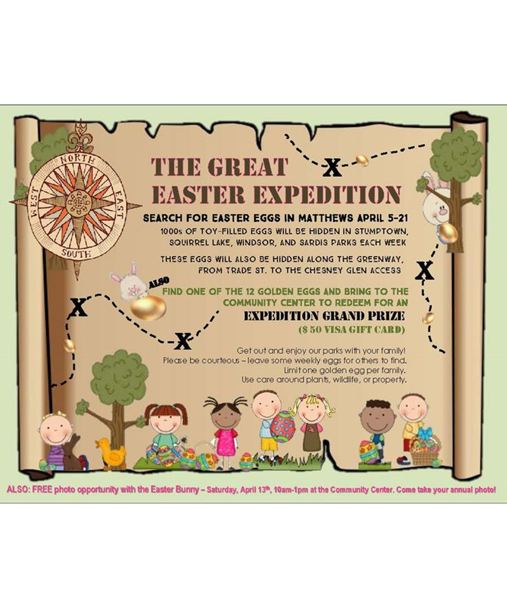 News About Town: The Great Easter Egg Expedition begins this Friday, April 5, and runs through Sunday, April 21. In the past the Town has hosted an egg hunt at Stumptown Park, but this year they're going bigger and better by hiding several thousand eggs throughout town parks (Stumptown, Squirrel Lake, Windsor, and Sardis Parks) and Four-Mile Creek Greenway (between John Street and Chesney Glen). The eggs will contain toys and the chance to win bigger prizes if you find a Golden Egg. Consider it a town-wide game of Gamete-mon Go! -