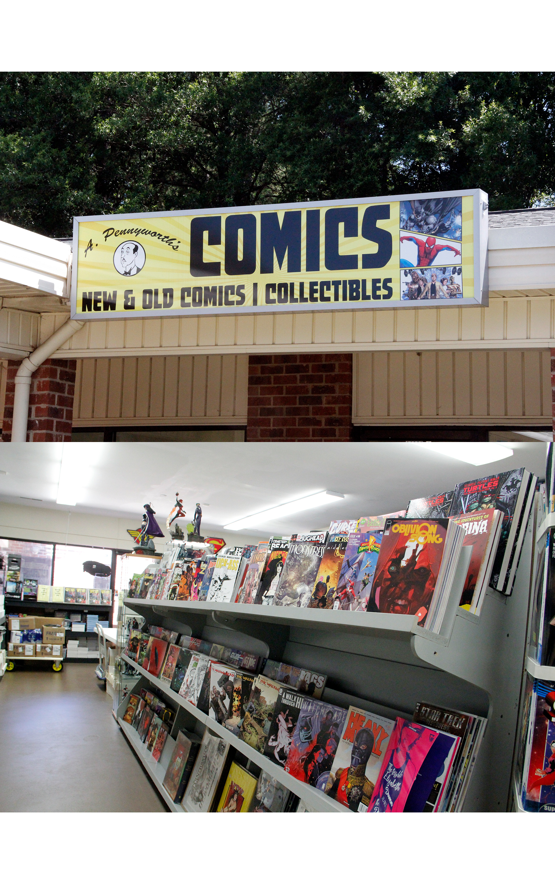 A. Pennyworth's Comics: Just like Alfred Pennyworth is a stable presence in the life of Bruce Wayne, so has A. Pennyworth's Comics, News, and Collectibles been to Matthews. Celebrating their 20-year anniversary in September, A. Pennyworth's offers new and old comics and collectibles from your favorite tv show, movie, and (of course!)comic book. Whether you're Team Batman, Team Superman, or Team Not Sure Who to Root For, your Inner Nerd will enjoy questing through the racks of comics, graphic novels, and other pop culture items inside the shop. - 11025 Monroe Road, Ste. D Matthews, North Carolina 28105