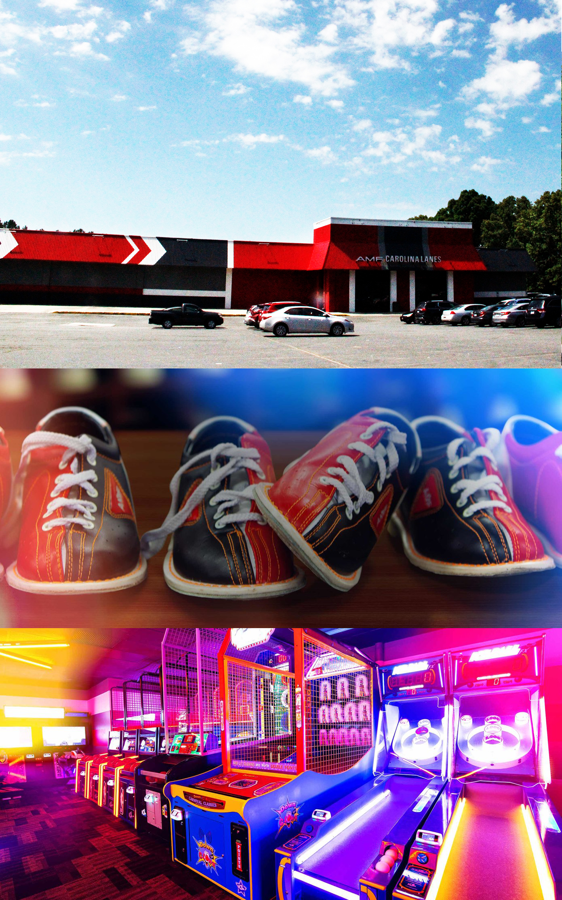 AMF Carolina Lanes: Does thinking of the bowling alley conjure up more of your InnerDude than your Inner Nerd? At AMF in Matthews, you don't need to worry whether or notyour mystery block lands on your Big Lebowski or your Big Daddy- both can have agreat time. In addition to bowling, Matthews' favorite bowling alley also includes anextensive arcade with both new and classic video games for your Inner Nerd to dedicatesome time to leveling up. - 11210 Brigman Rd, Matthews, NC 28105