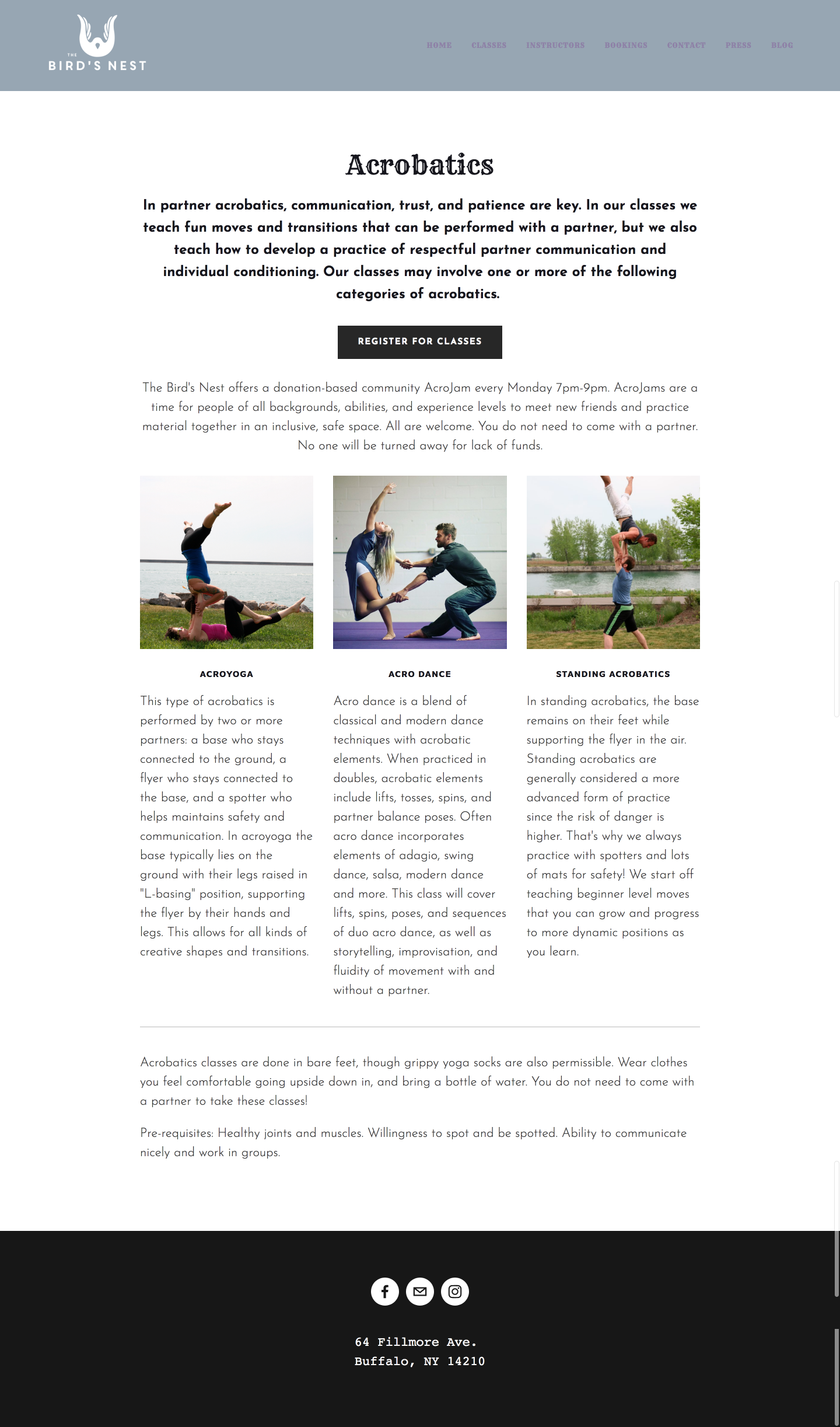 """Class Page: Acrobatics. """"In acrobatics, communication, trust, and patience are key. In our classes we teach fun moves and transitions that can be performed with a partner, but we also teach how to develop a practice of respectful partner communication and individual conditioning. Our classes may involve one or more of the following categories of acrobatics: AcroYoga. Acro Dance. Standing Acrobatics."""""""
