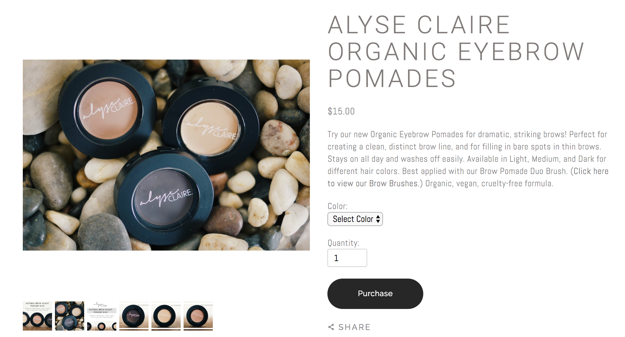 """The W Spa: eCommerce Product Page. """"Try our new Organic Eyebrow Pomades for dramatic, striking brows! Perfect for creating a clean, distinct brow line, and for filling in bare spots in thin brows. Stays on all day and washes off easily."""""""