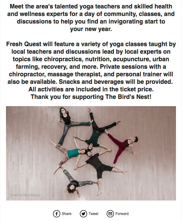 Excerpt from email promoting Health & Wellness Event