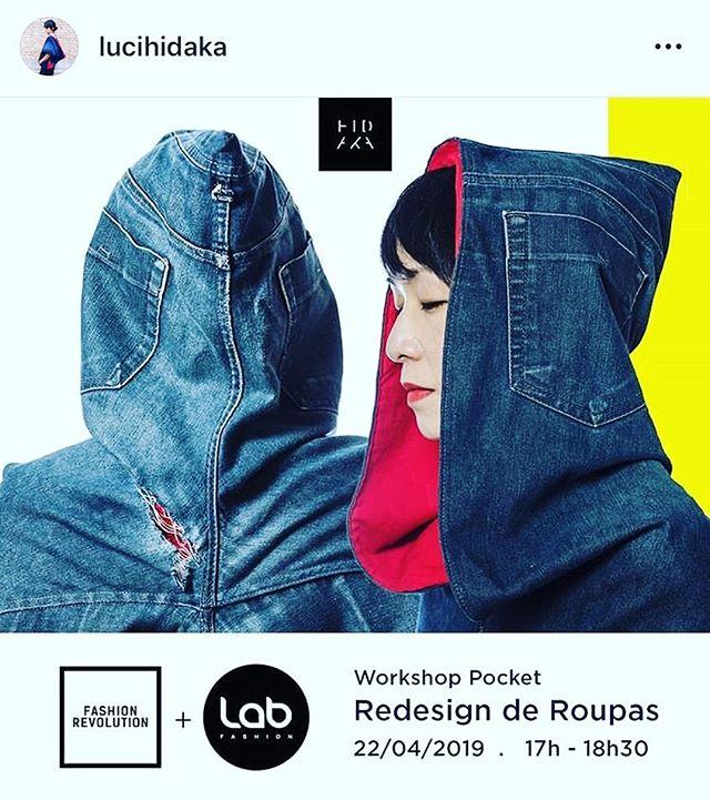 #Repost @lucihidaka  Na semana do dia 22 a 28/04 acontece o Fashion Revolution no mundo todo.  O movimento tem como principais objetivos, conscientizar sobre os impactos socioambientais do setor, celebrar as pessoas por trás das roupas, incentivar a transparência e fomentar a sustentabilidade.  Na oficina que acontecerá no dia 22/04 (segunda-feira), das 17h às 18h30, no @labfashion.sp , vamos compartilhar o processo criativo de Redesign de Roupas aplicado à marca @hidaka_upcycling e junto dos participantes, colocar em prática esse conceito.  E as 19h, a oficina será da @upcoletivodeupcycling, coletivo de designers de que faço parte. Eu e @lucihidaka compartilharemos alguns processos criativos de Upcycling.  Foto: @o_corneti  Sobre o Fashion Revolution Week: O movimento foi criado após um conselho global de profissionais da moda se sensibilizar com o desabamento do edifício Rana Plaza em Bangladesh, que causou a morte de 1.134 trabalhadores da indústria da confecção e deixou mais de 2.500 feridos. A tragédia aconteceu no dia 24 de abril de 2013, e as vítimas trabalhavam para marcas globais, em condições análogas à escravidão.  A campanha #quemfezminhasroupas surgiu para aumentar a conscientização sobre o verdadeiro custo da moda e seu impacto no mundo, em todas as fases do processo de produção e consumo. Realizado inicialmente no dia 24 de abril, o Fashion Revolution Day ganhou força e hoje tornou-se a Fashion Revolution Week, que conta com atividades promovidas por núcleos voluntários em mais de 100 países.  Fonte: http://www.fashionrevolution.org/Souto-América/brazil