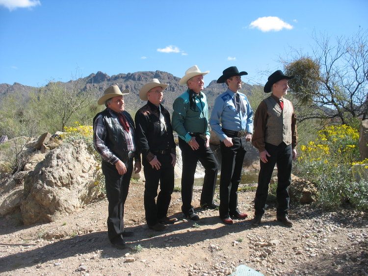 "Here we are ""out standing in our field"" in Old Tucson."