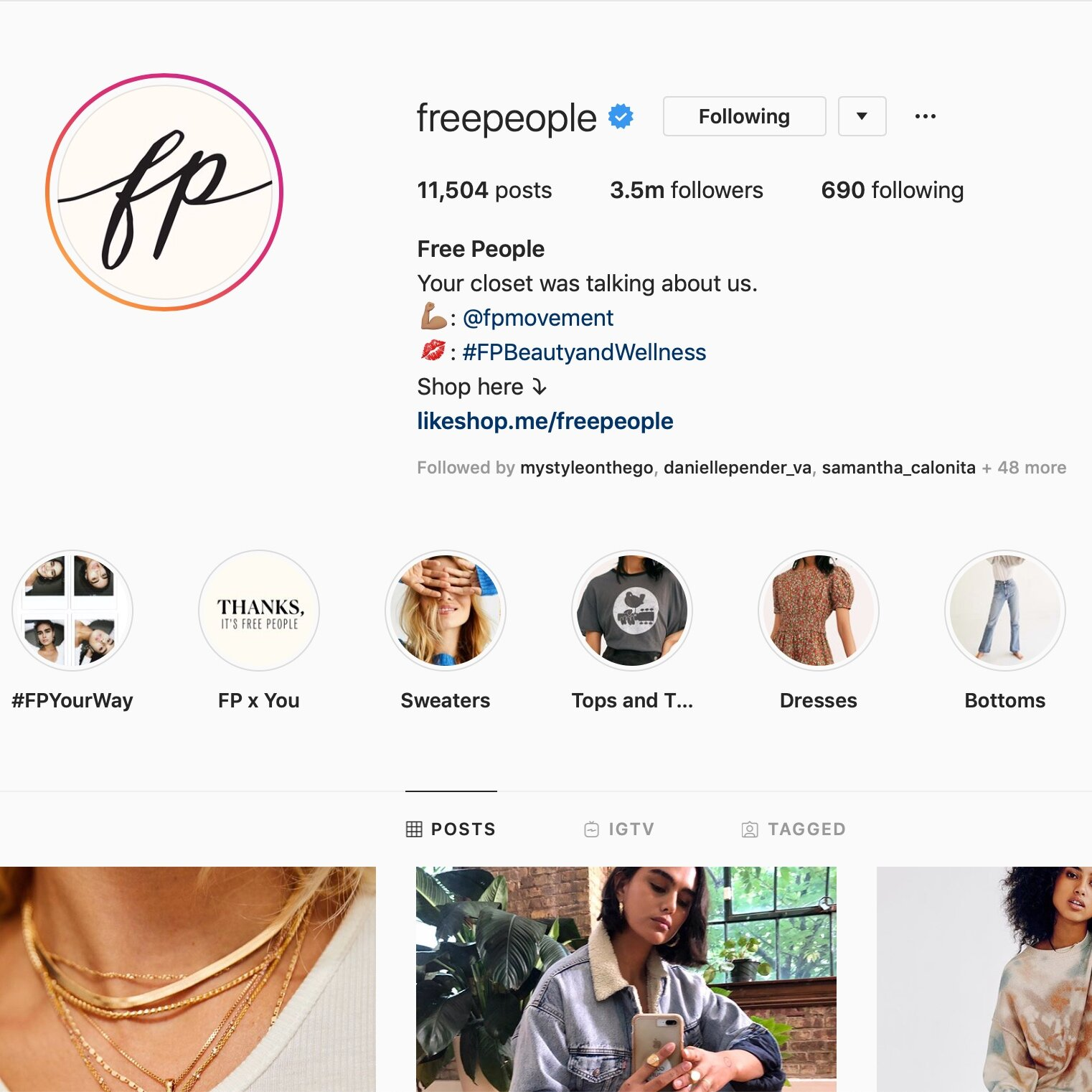 Free People Branded Hashtags