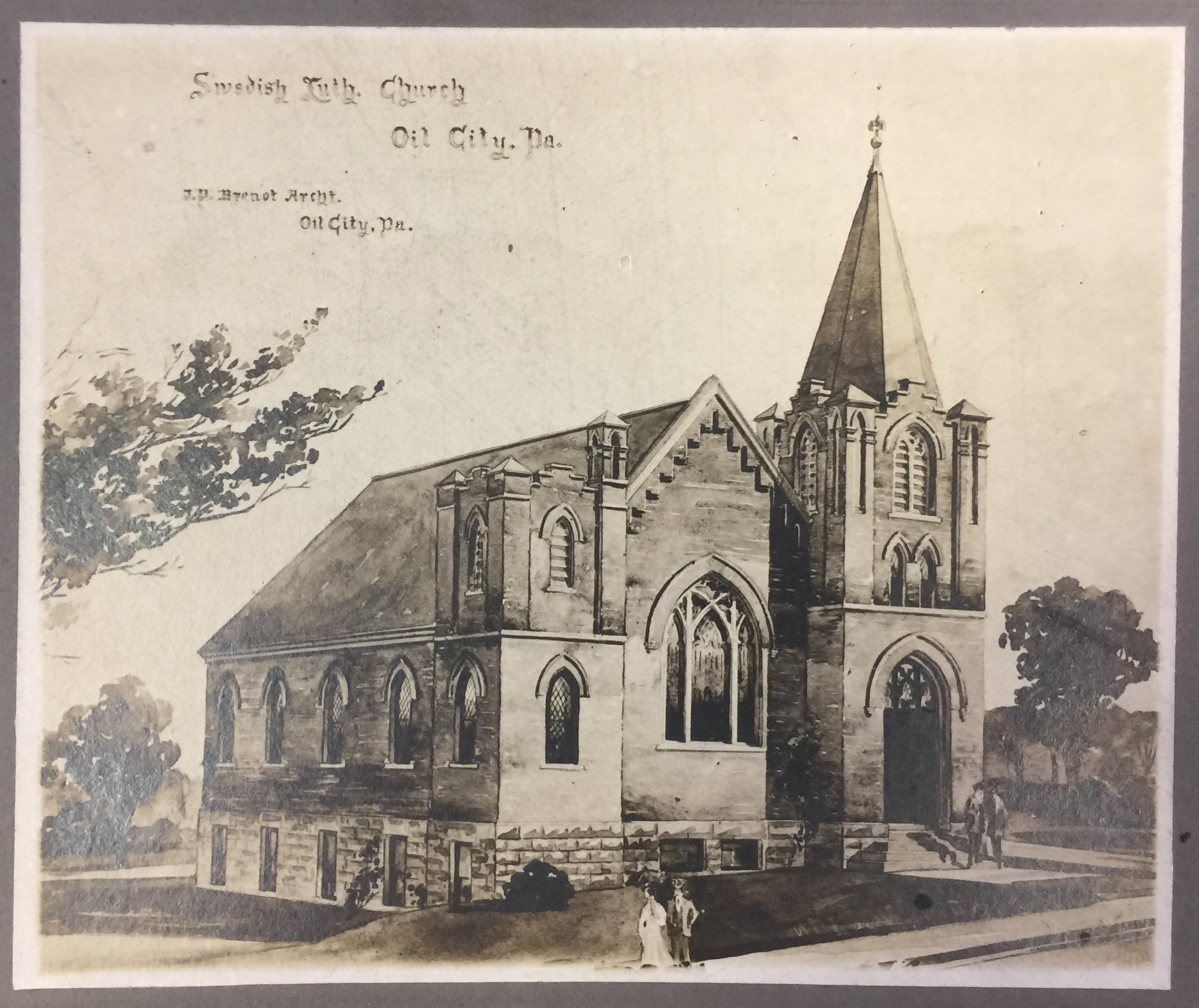 Architect's sketch of Zion Lutheran Church - 1907
