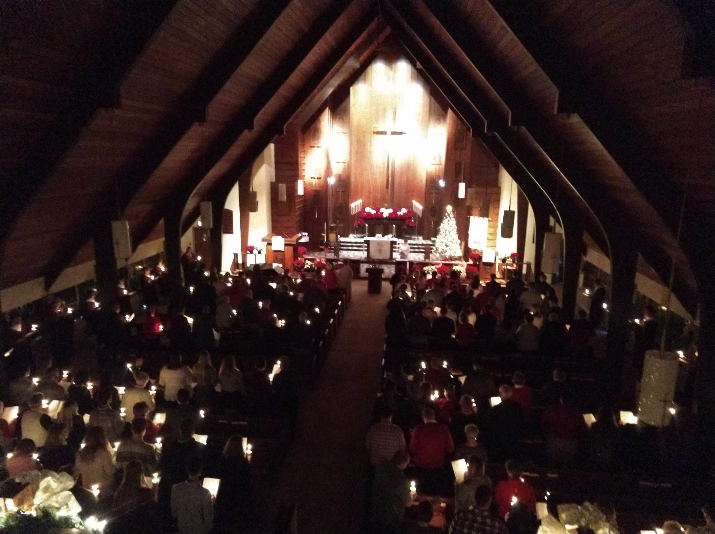 Christmas Eve candle light service at Good Hope Lutheran Church, 2019. (photo by Jake Kosker)