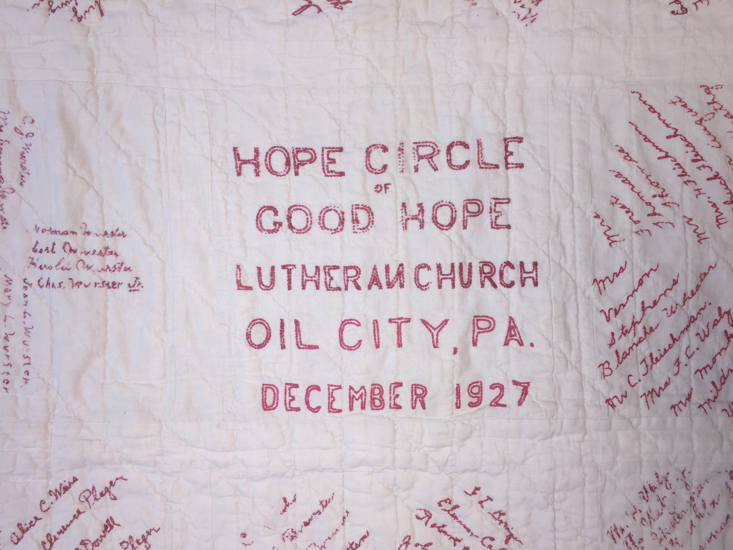 Good Hope Lutheran Church quilt - 1927