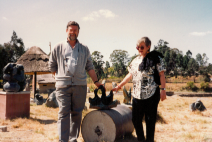 Paul and Kathleen Freund in the Shona Sculpture Garden while on a trip to Zimbabwe.