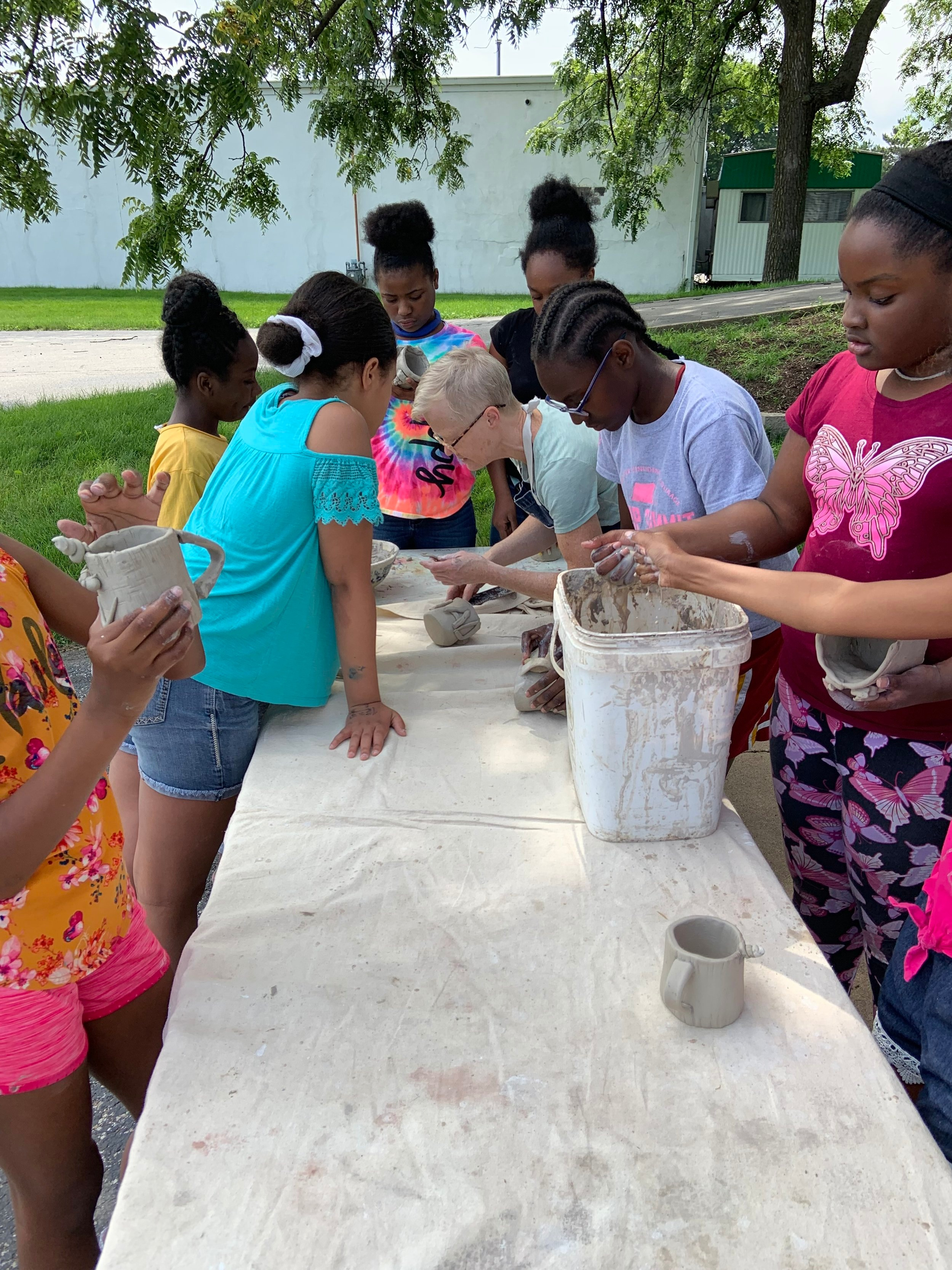 Students participating in STEAM on Wheels' Summer Camp.