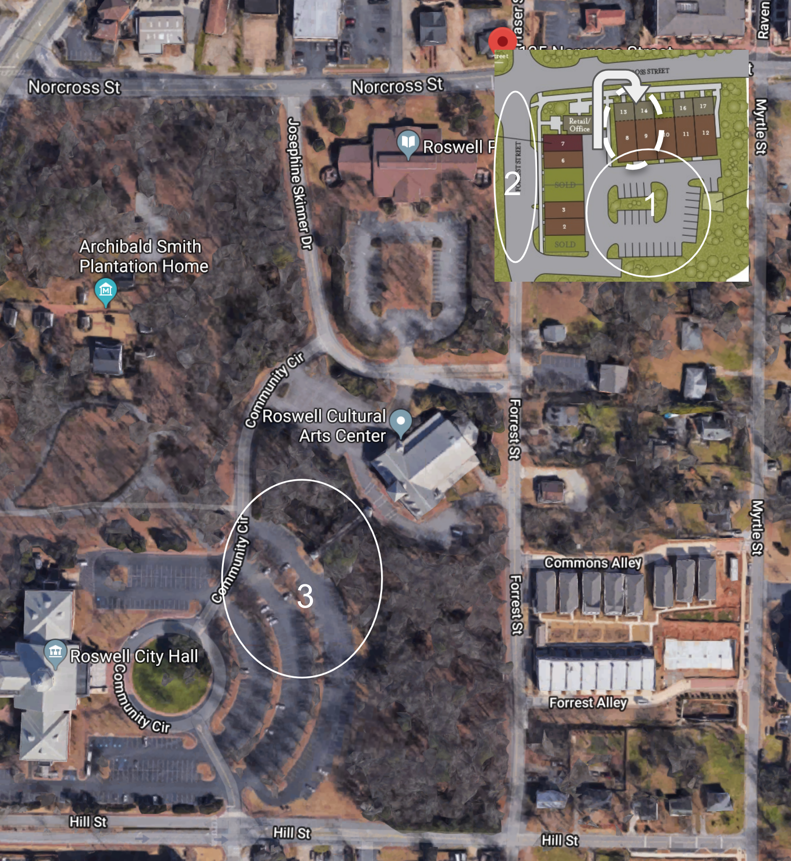 ***Parking options: 1. Immediately behind office, see arrow for walk through to front entrance. 2. Offstreet parking on Forrest Drive. 3. Public Parking at City Hall anytime or Library and Arts Center after hours. Take bridge towards arts center then office located next door to the Library.