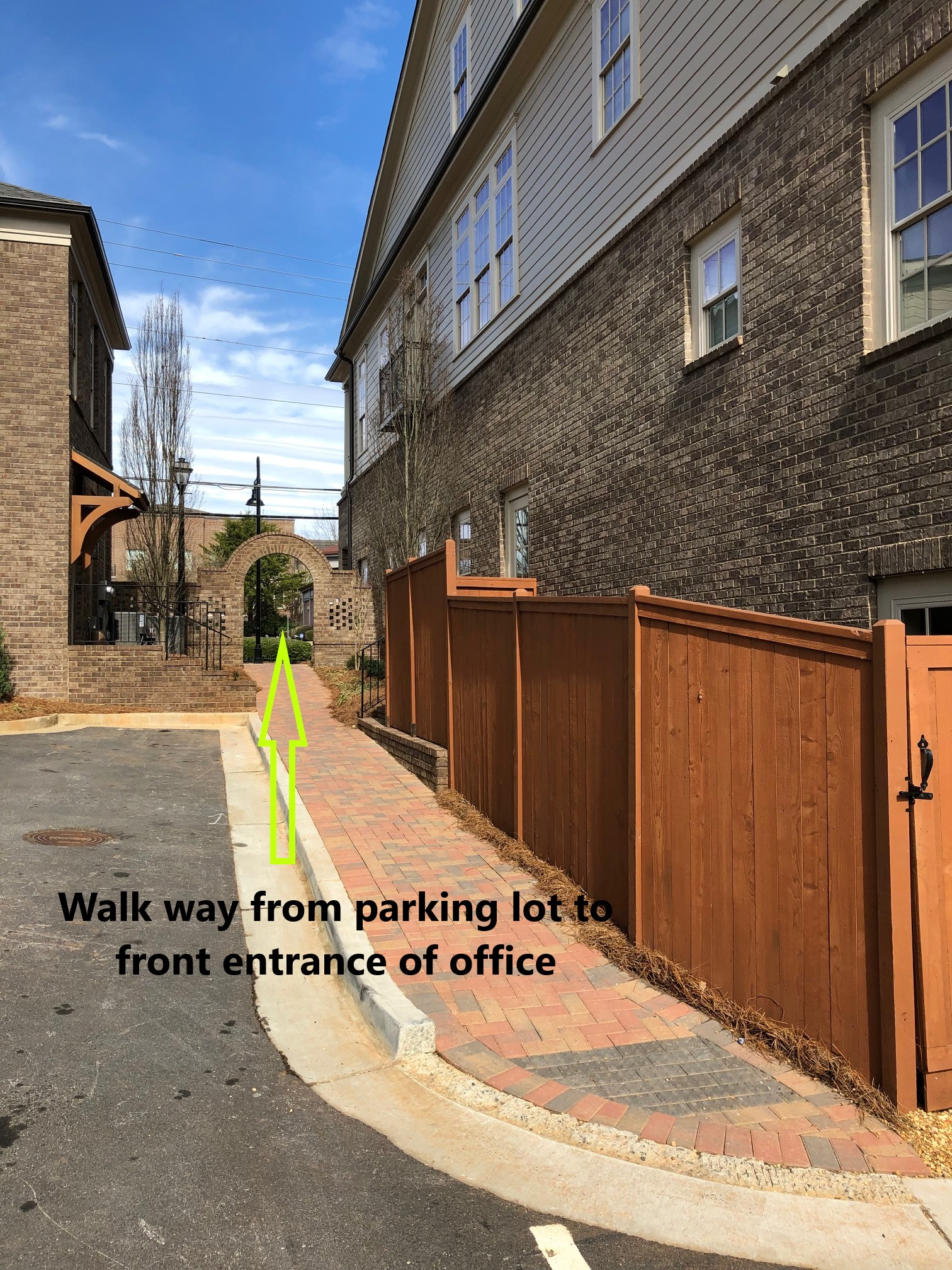 Once in the parking lot, you can take a short cut to the front of the office with this walkway.