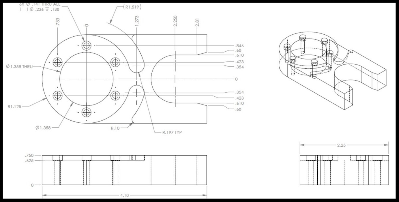 Mechanical engineering design drawing