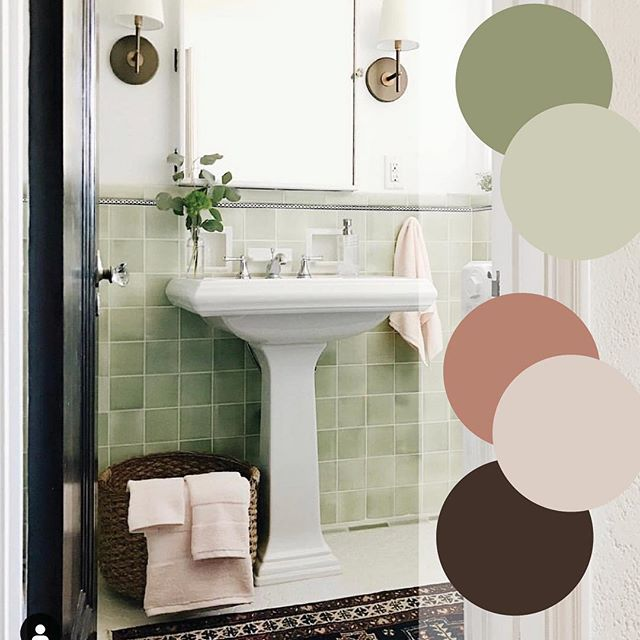 More color palette inspiration hit us right between the eyes this past weekend when we stumbled upon @patticakewagner's bright and cheery bathroom. Sage green-nay-nay, all the way way way! • • • • #designdetails #interiordesign #designinspo #designcrush #interiors #interiorinspo #ctdesigner #nydesigner #ctliving #cthomes #housedwell #housebeautiful #finishes #howihaven #cmonhomes #yourstyle #colorpalette #colorinspiration #springcolors #bathroom #loveyourhome #happyplace #howwedwell #pocketofmyhome #cheery #monday #colorlove (@westelm @homegoods)