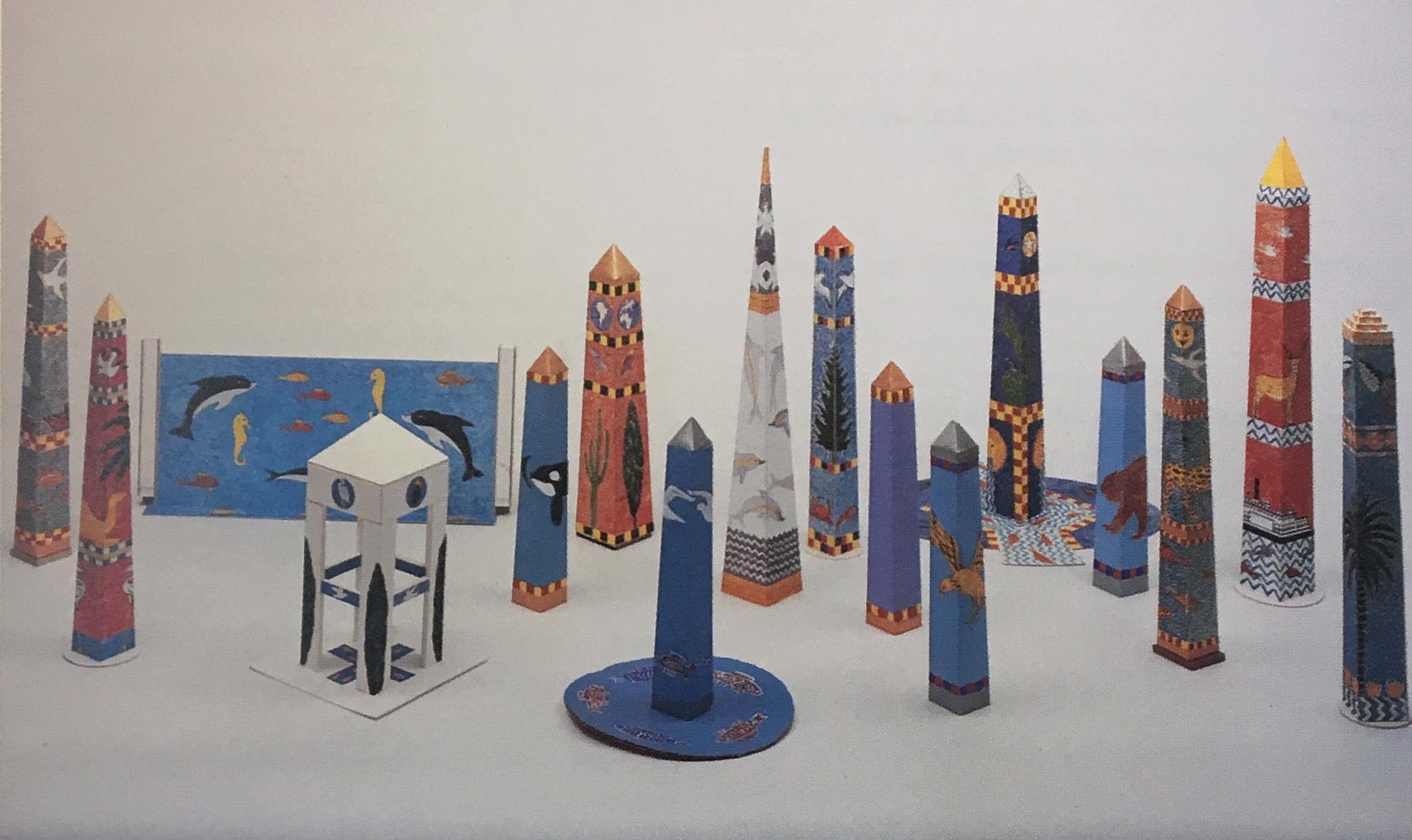 Joan Brown , Sixteen Maquettes for Public Monuments, 1980s, painted cardboard.