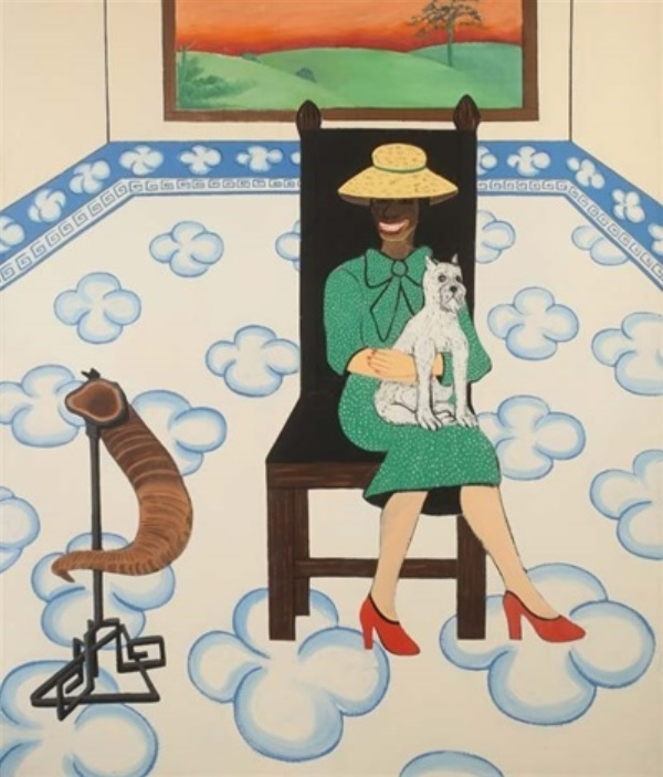 Joan Brown , Woman and Dog in Room with Chinese Rug, 1975, enamel on canvas, 84 x 72 inches, © The Joan Brown Estate.