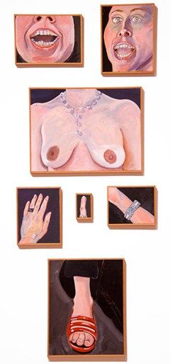 Joan Brown , Parts of a Woman, 1972, oil enamel on canvas, approx. 62.5 x 26 inches (group), © The Joan Brown Estate.