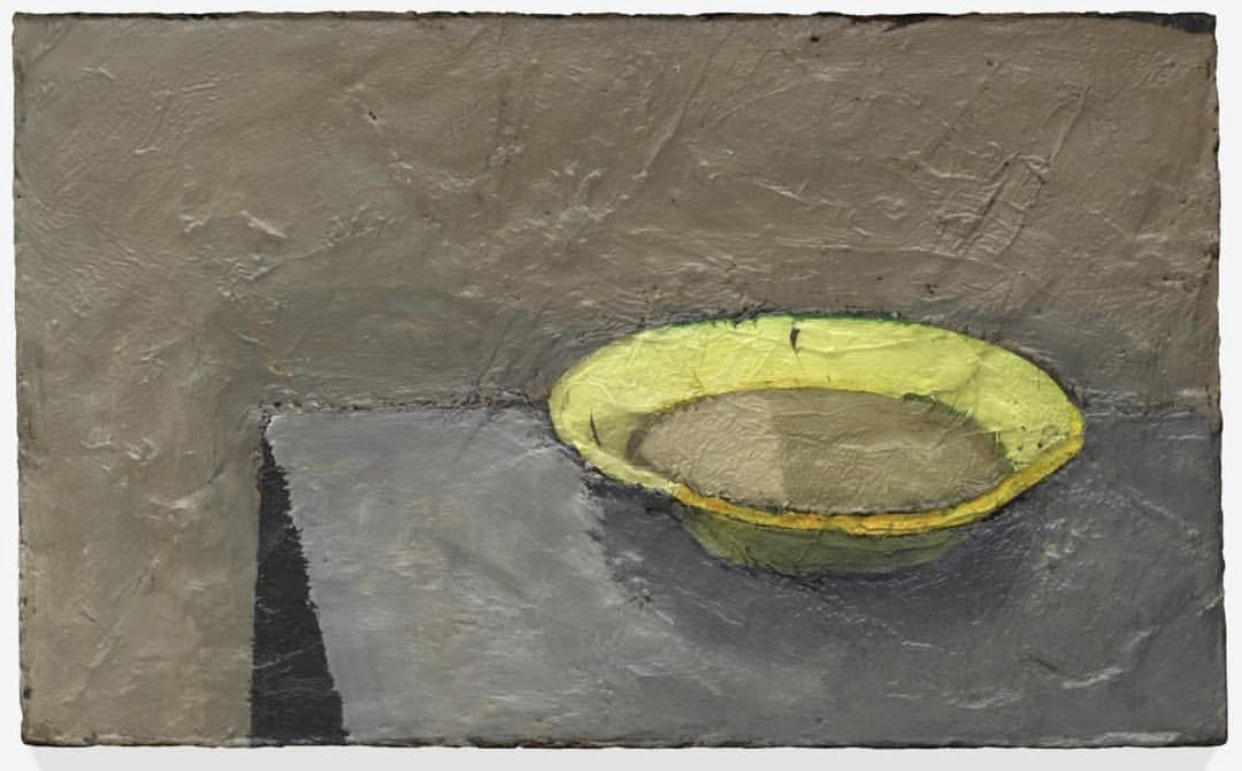 Joan Brown,  Green Bowl , 1964; oil on canvas, 22 in. x 36 1/4 in. (55.88 cm x 92.08 cm); Collection SFMOMA, Purchase, by exchange, through a fractional gift of Evelyn D. Haas; © The Joan Brown Estate.