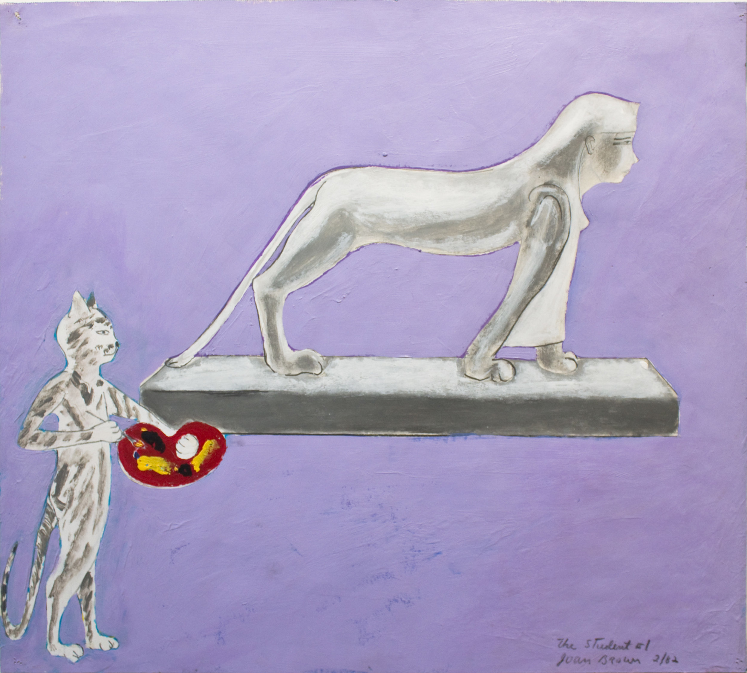 Joan Brown, The Student #1, 1982, Acrylic on paper, Suite of 8 drawings, 18 x 20 inches. © The Joan Brown Estate.