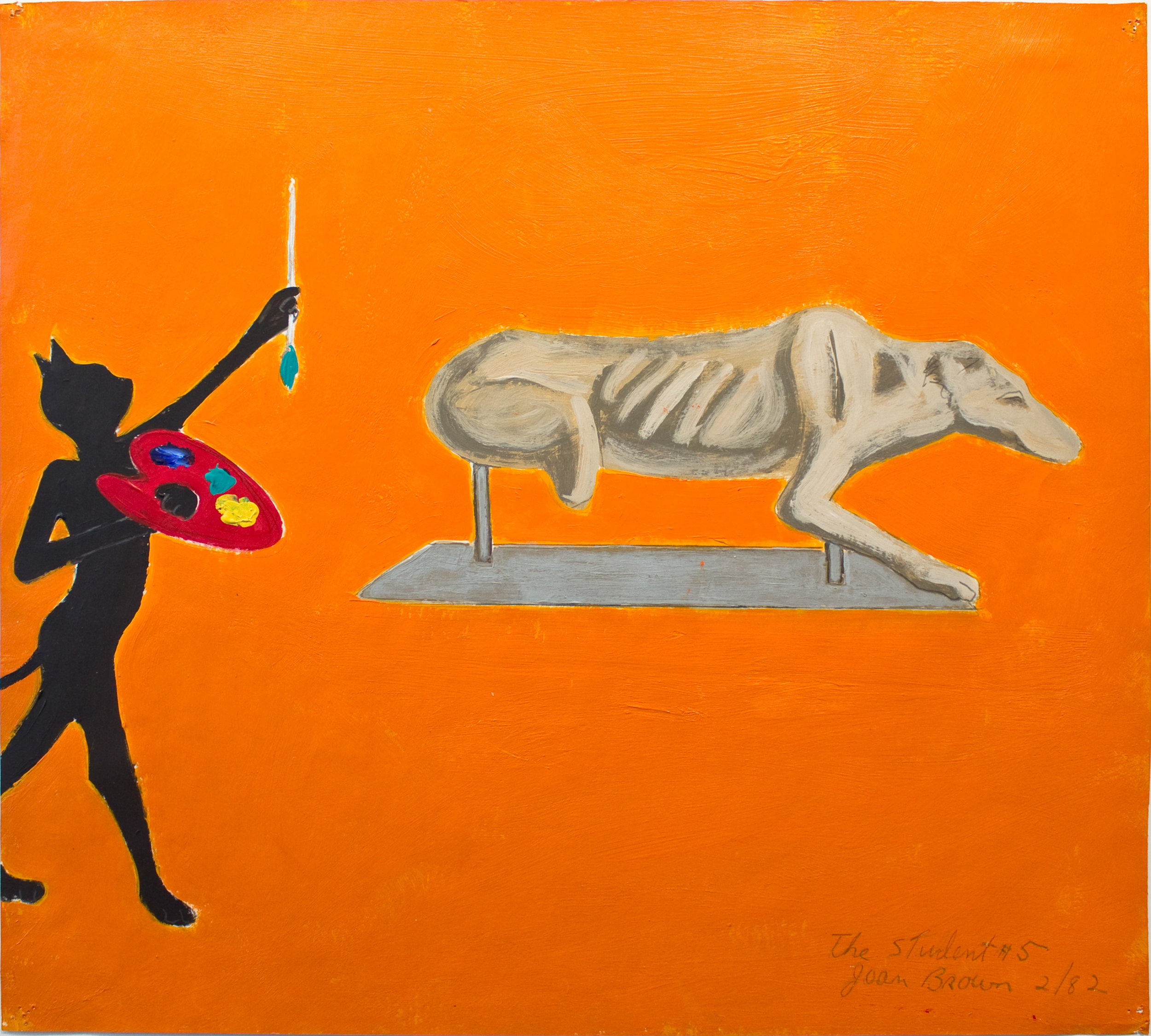 Joan Brown, The Student #5, 1982, Acrylic on paper, Suite of 8 drawings, 18 x 20 inches. © The Joan Brown Estate.
