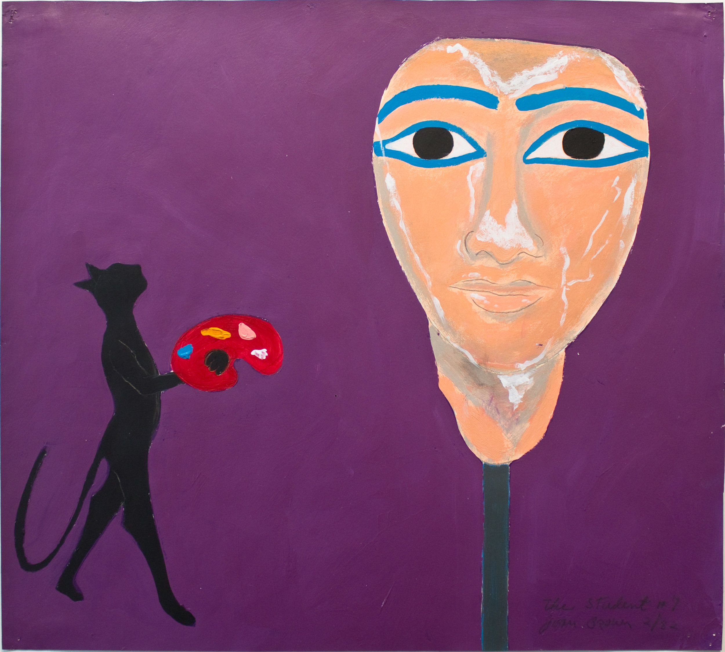 Joan Brown, The Student #7, 1982, Acrylic on paper, Suite of 8 drawings, 18 x 20 inches. © The Joan Brown Estate.