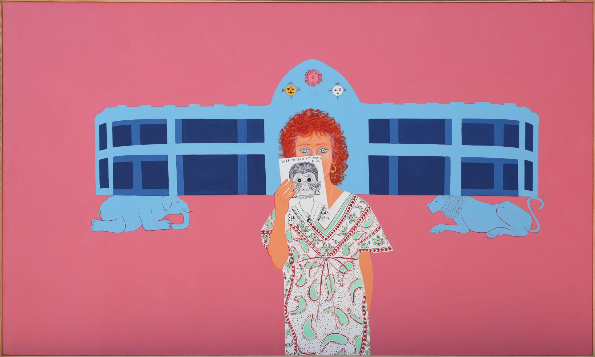 Joan Brown, Homage to Sathya Sai Baba, 1983, oil enamel on canvas, 72 x 120 inches, © The Joan Brown Estate.