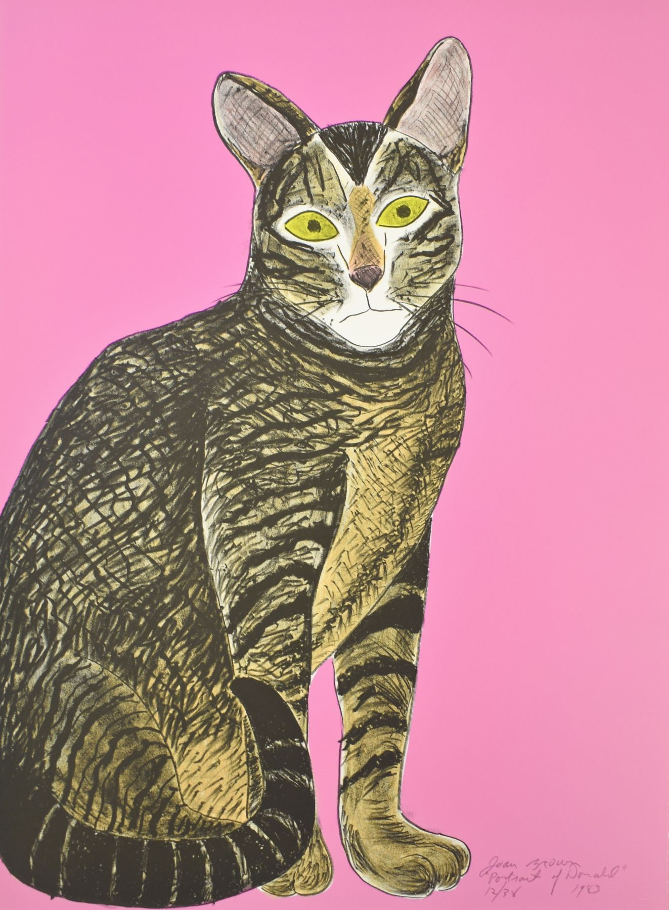 Joan Brown, Donald - Pink, 1983, lithograph, 30 x 22 in., © The Joan Brown Estate.