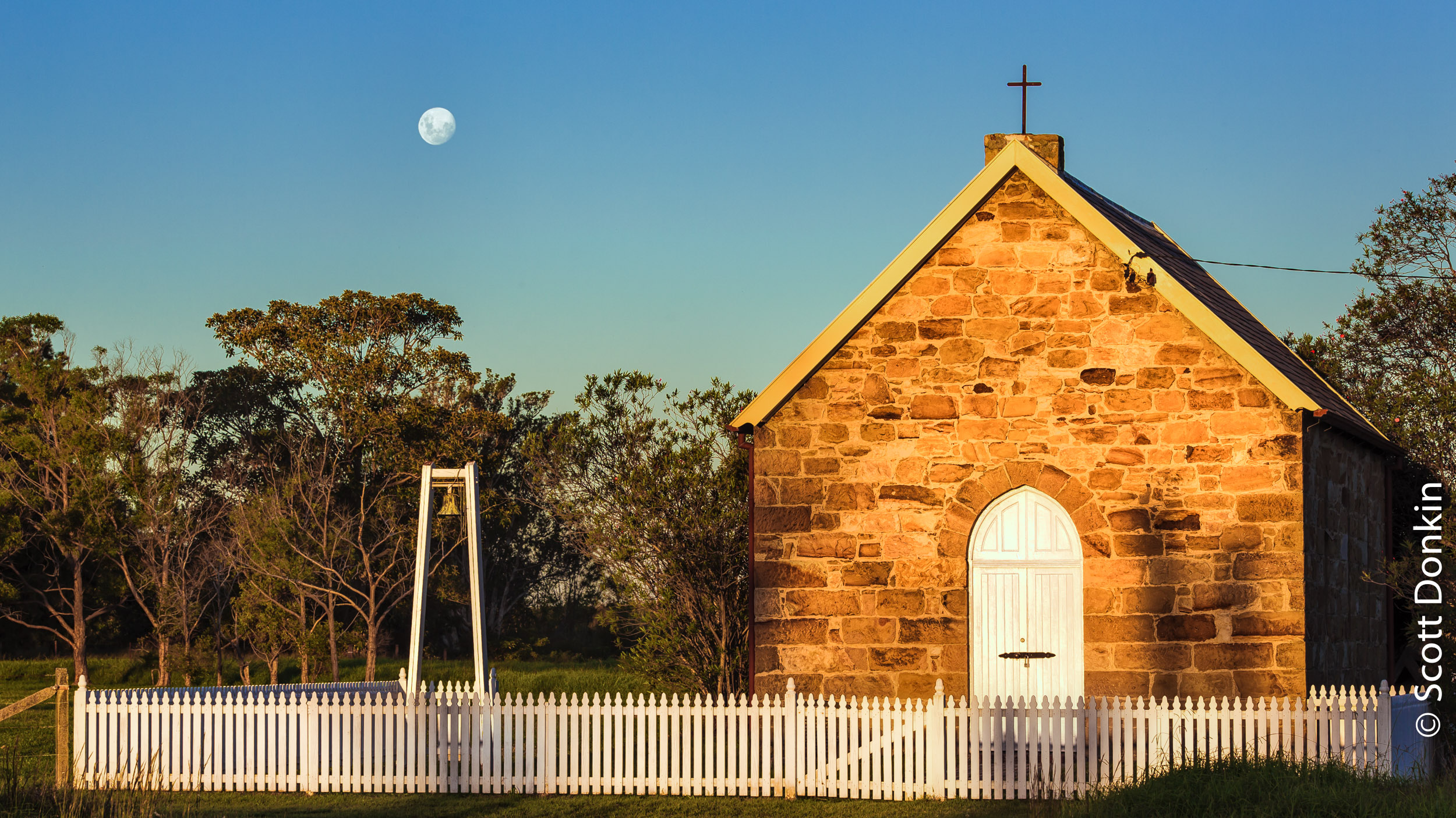 Moonrise over the chapel at Tomago, New South Wales. 9 April 2017.