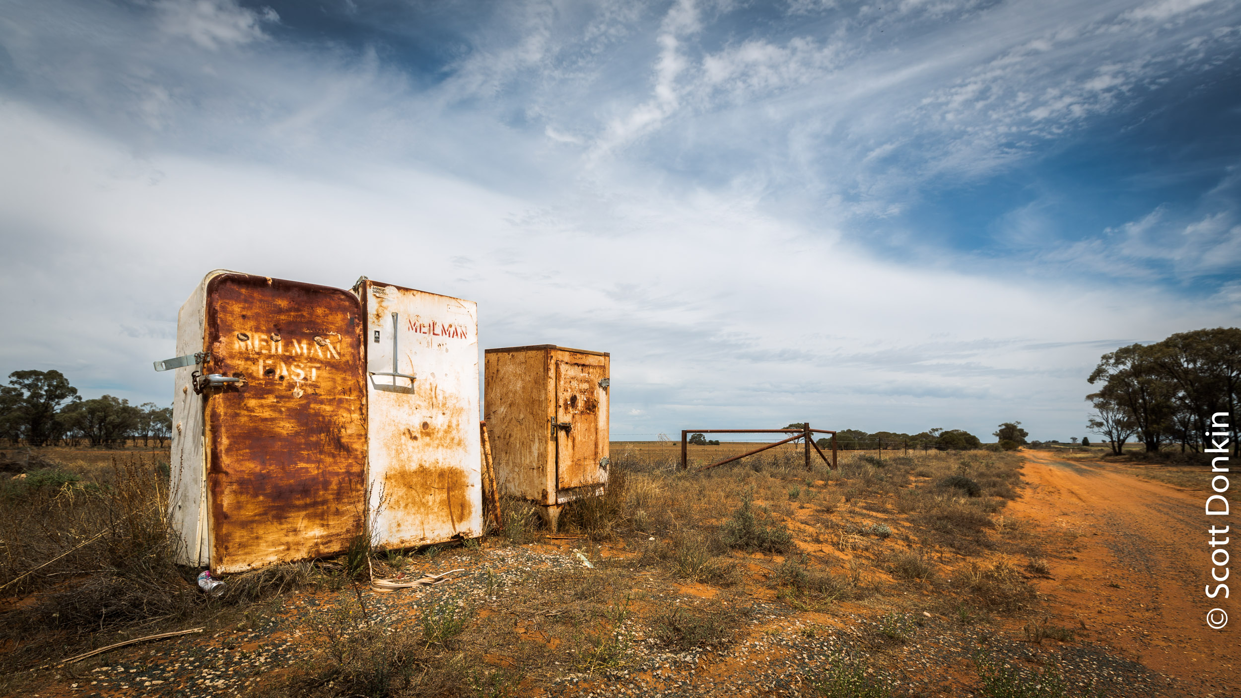 Farmland roadside mailboxes. Off the Sturt Highway, New South Wales.