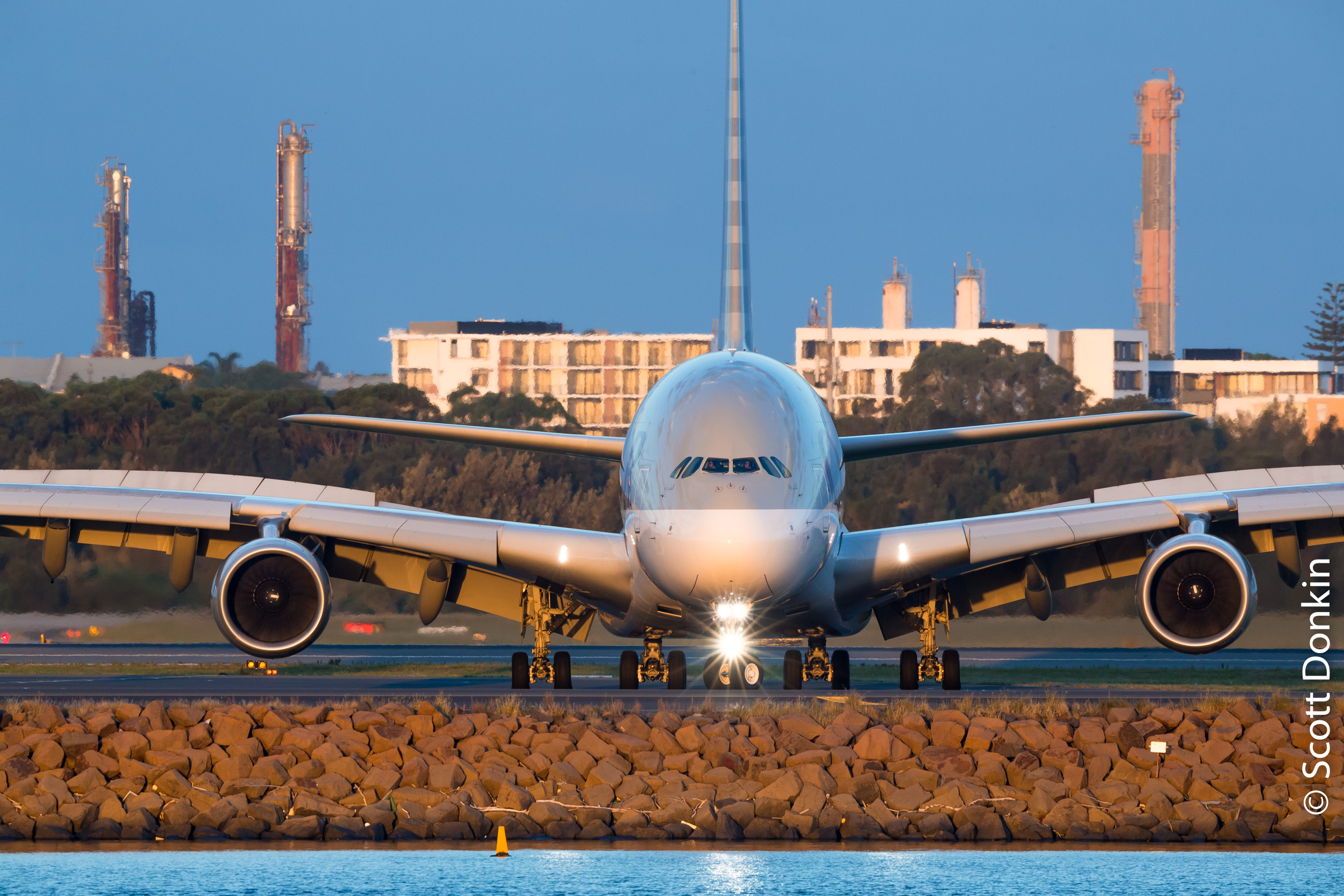 Airbus A380-800 (A388 quad-jet), turns after landing at Kingsford Smith Airport, Sydney.