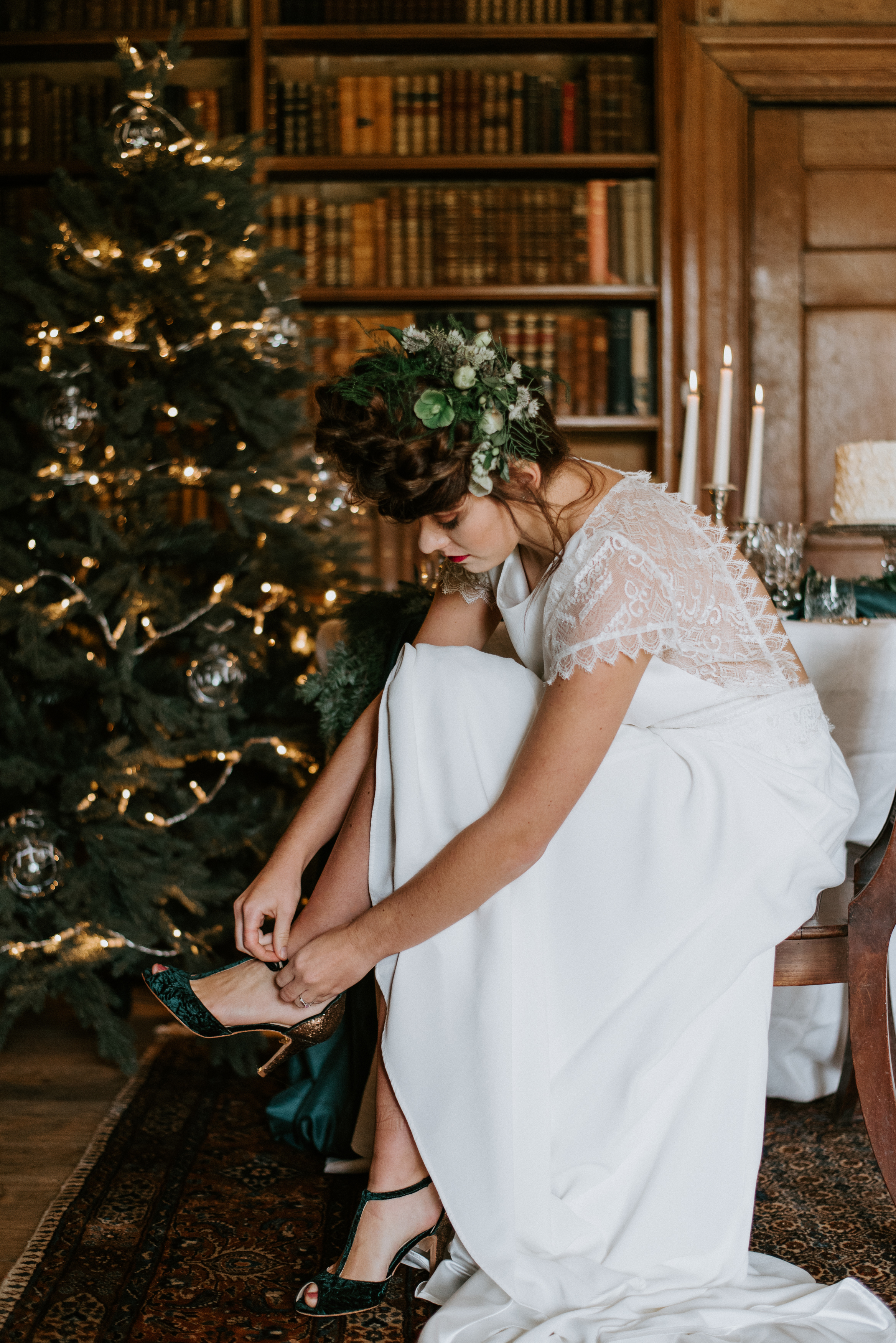 Christmas Boho Bride Wedding Nurstead Court