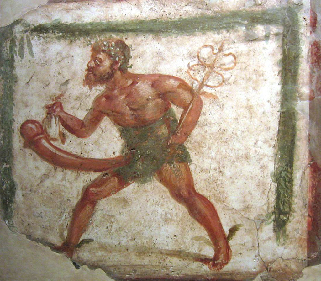 Fresco of the fertility and sex god Priapus in Pompeii