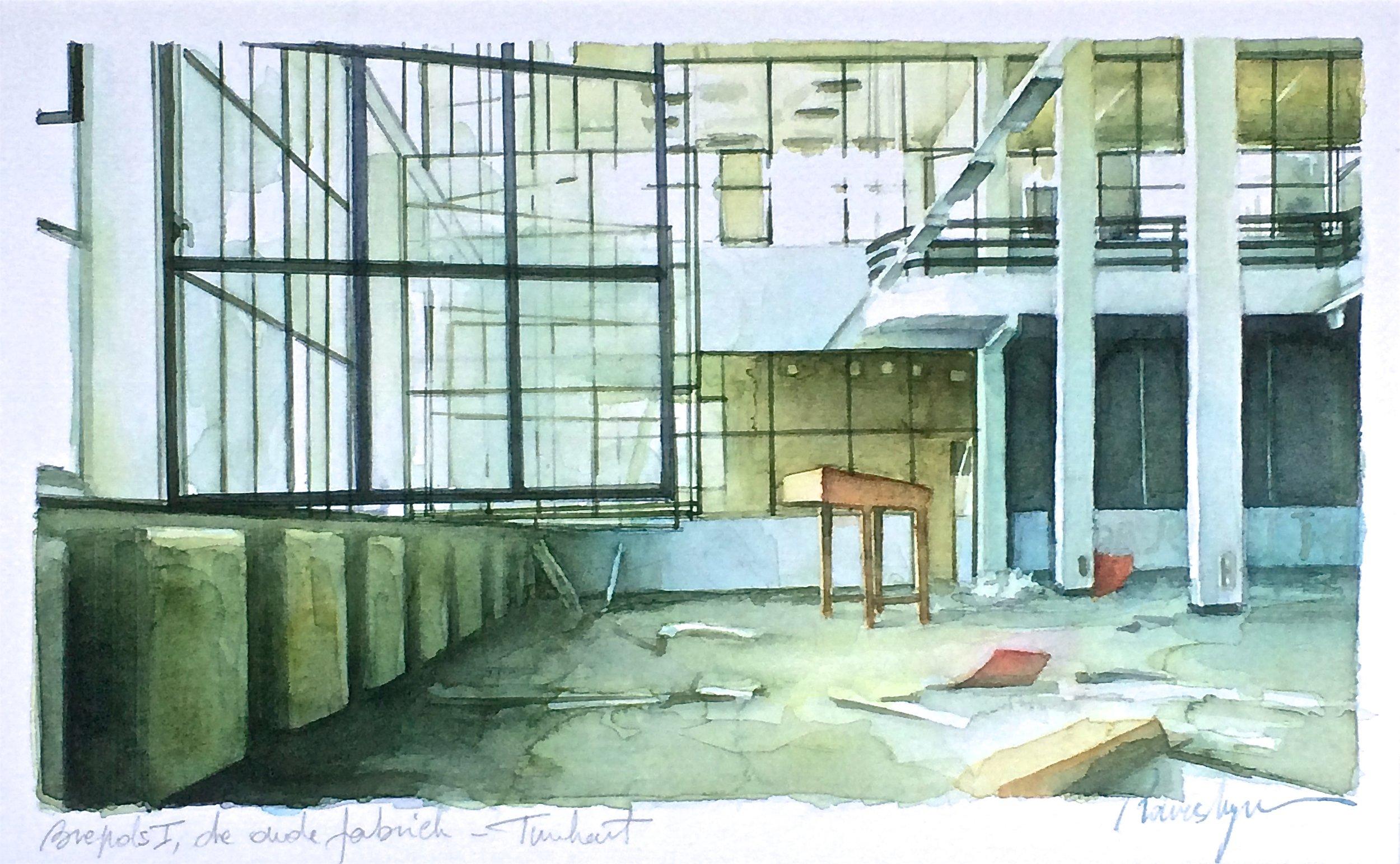Brepols I, de oude fabriek aquarel op Fabriano 300g