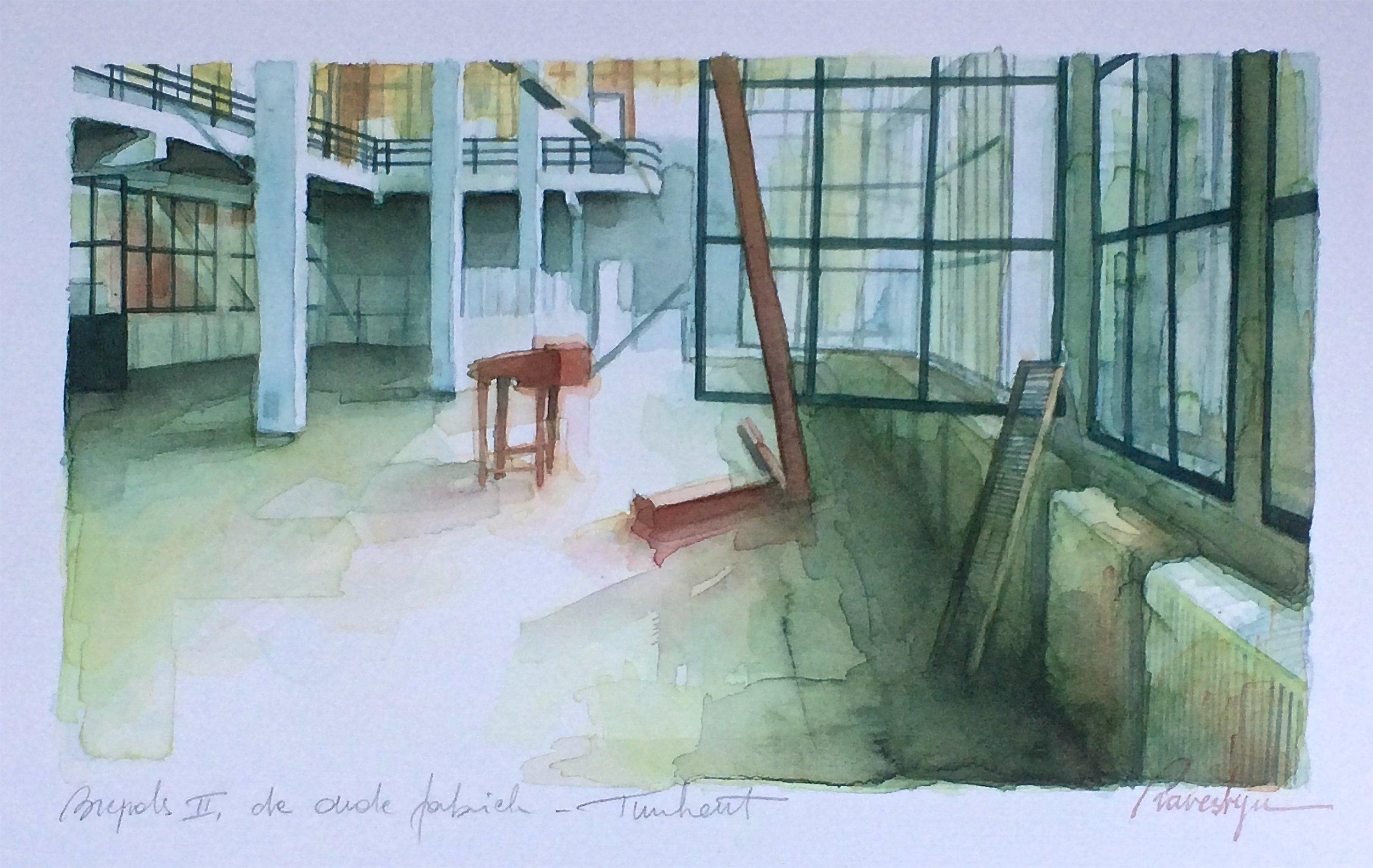 Brepols II, de oude fabriek aquarel op Fabriano 300g
