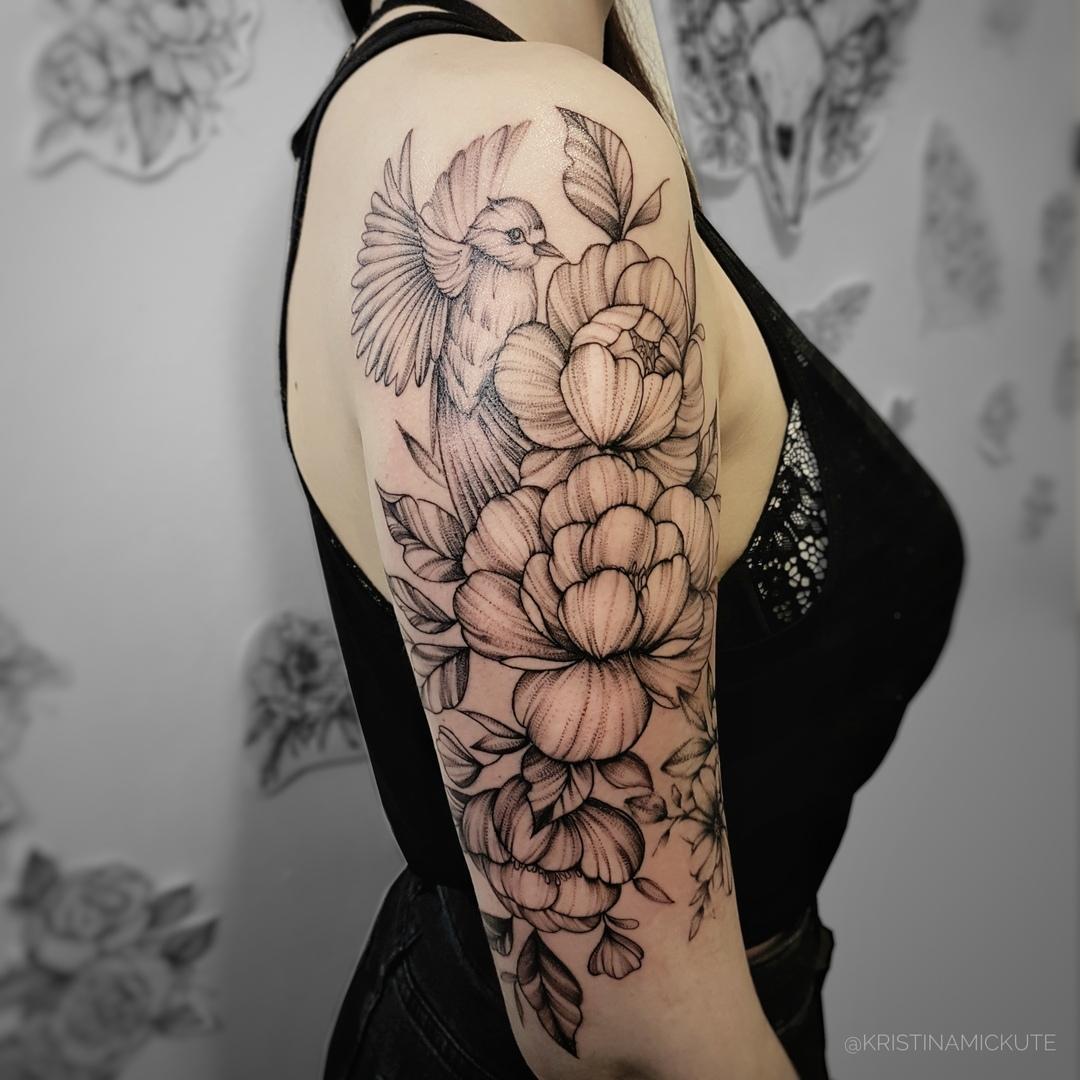 коспозиция,цветы и птица, графика, мастер Кристина Мицкуте.jpg