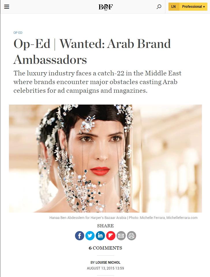 Arab Brand Ambassadors, BOF, August 2015