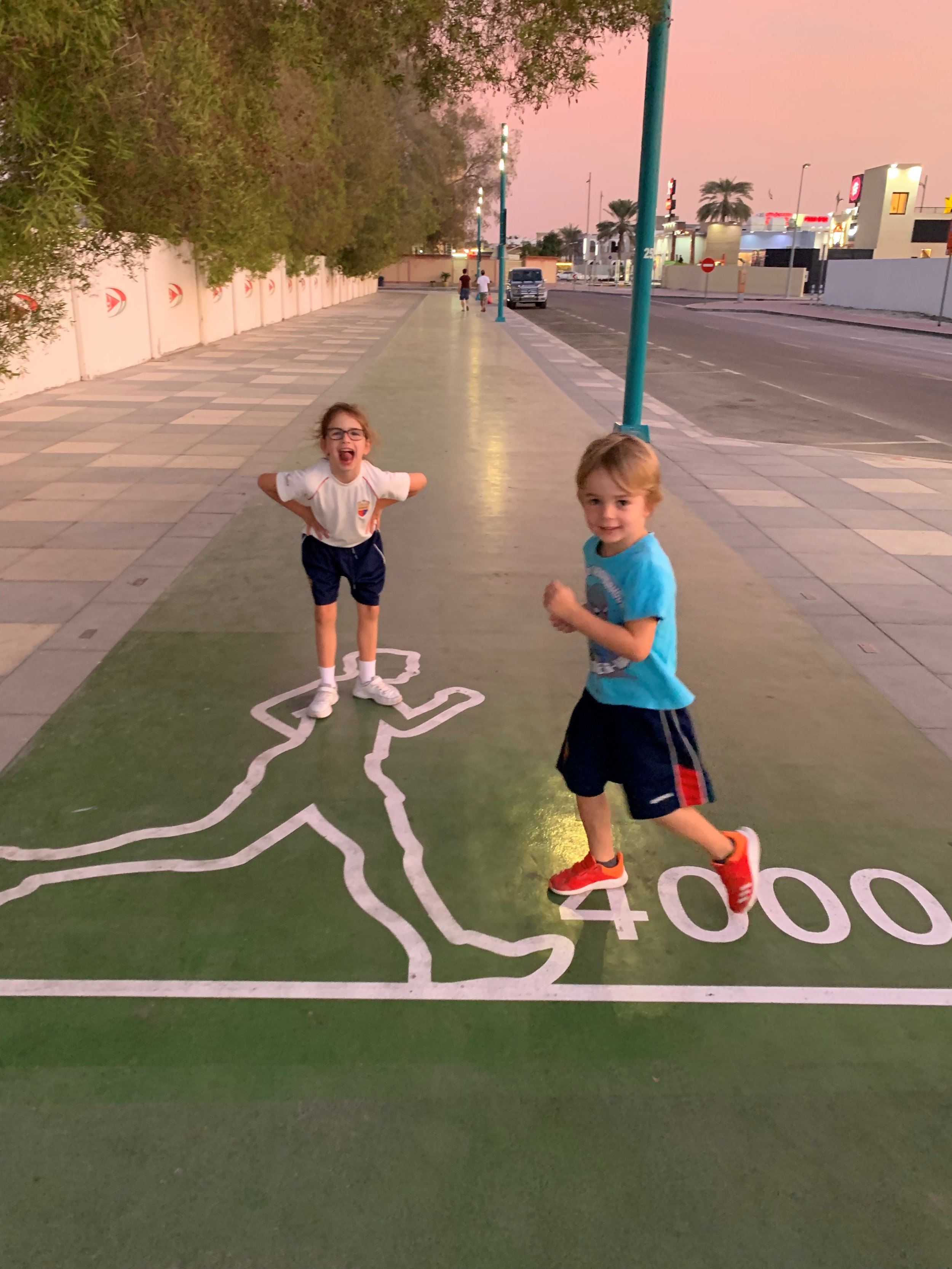 Leo and Fox on the Jumeirah Running Track in Dubai