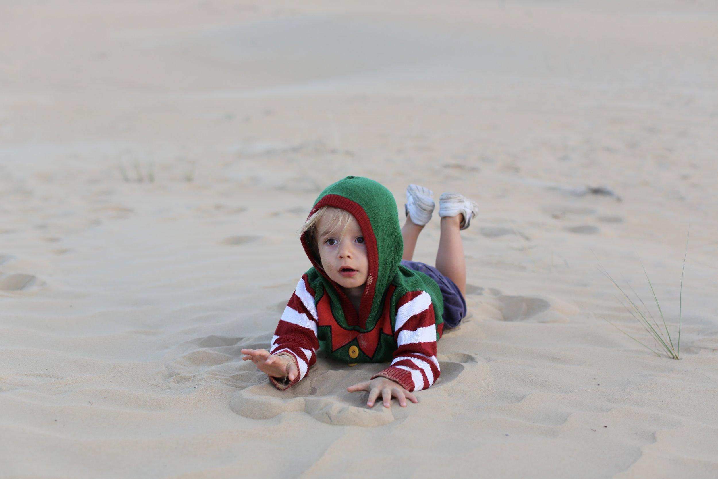 Kit in his Christmas elf jumper