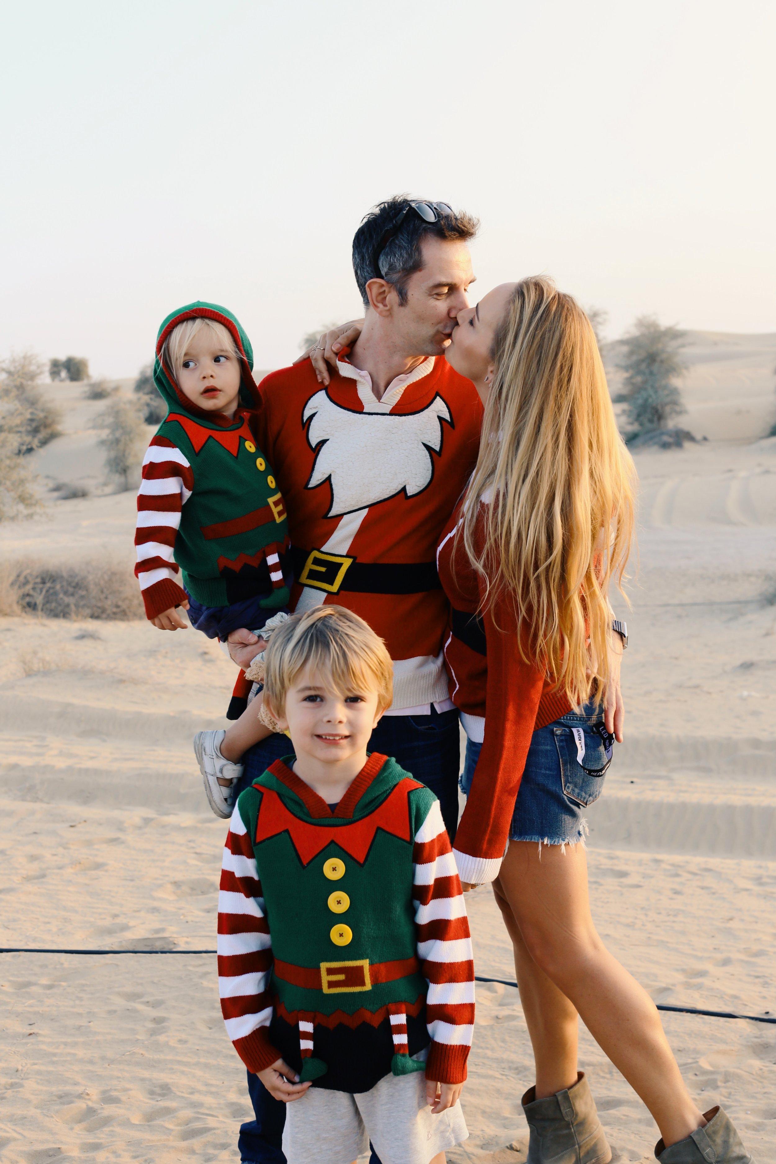 Christmas jumpers in the Dubai desert