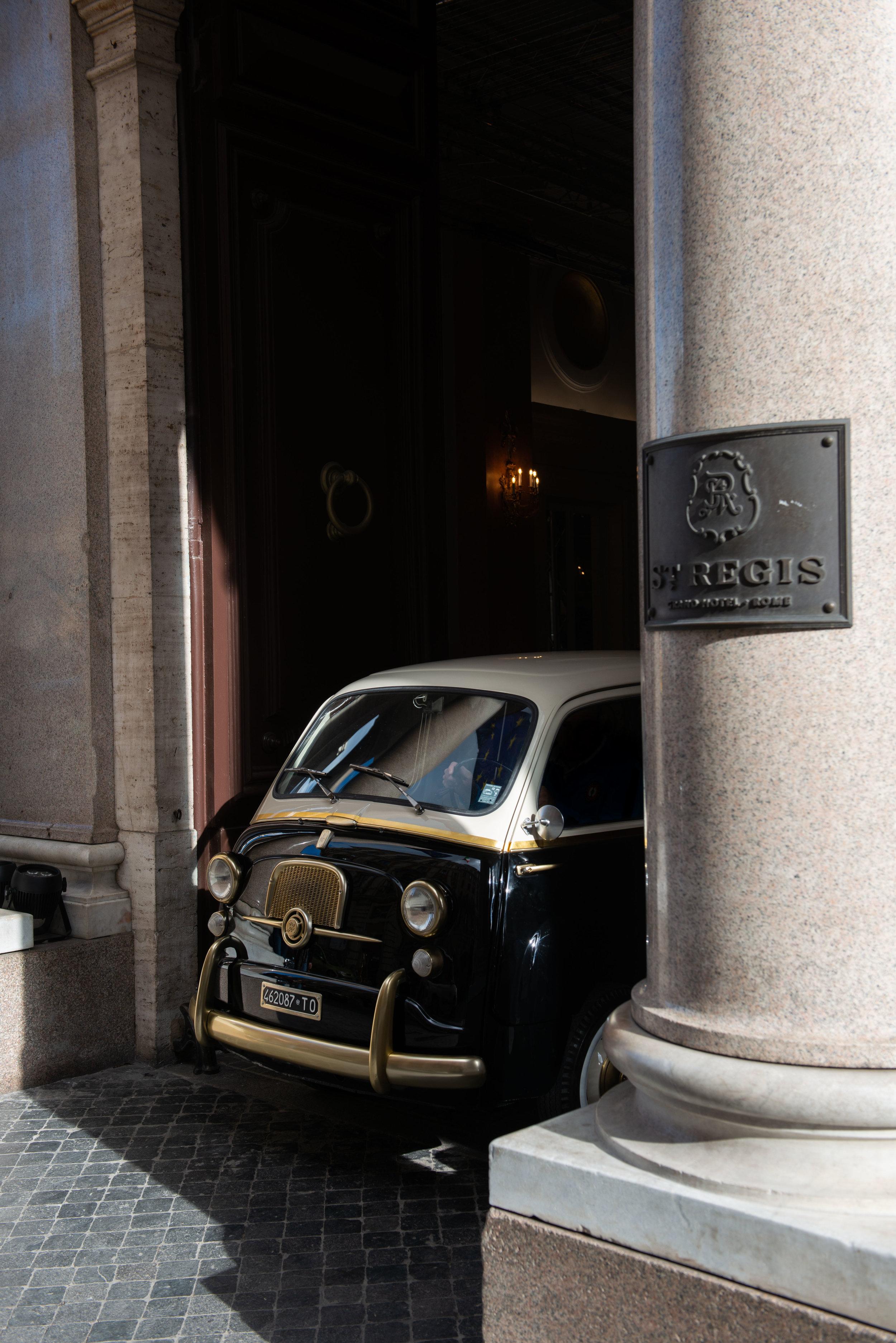 The custom 1962 Fiat 600 at St Regis Rome
