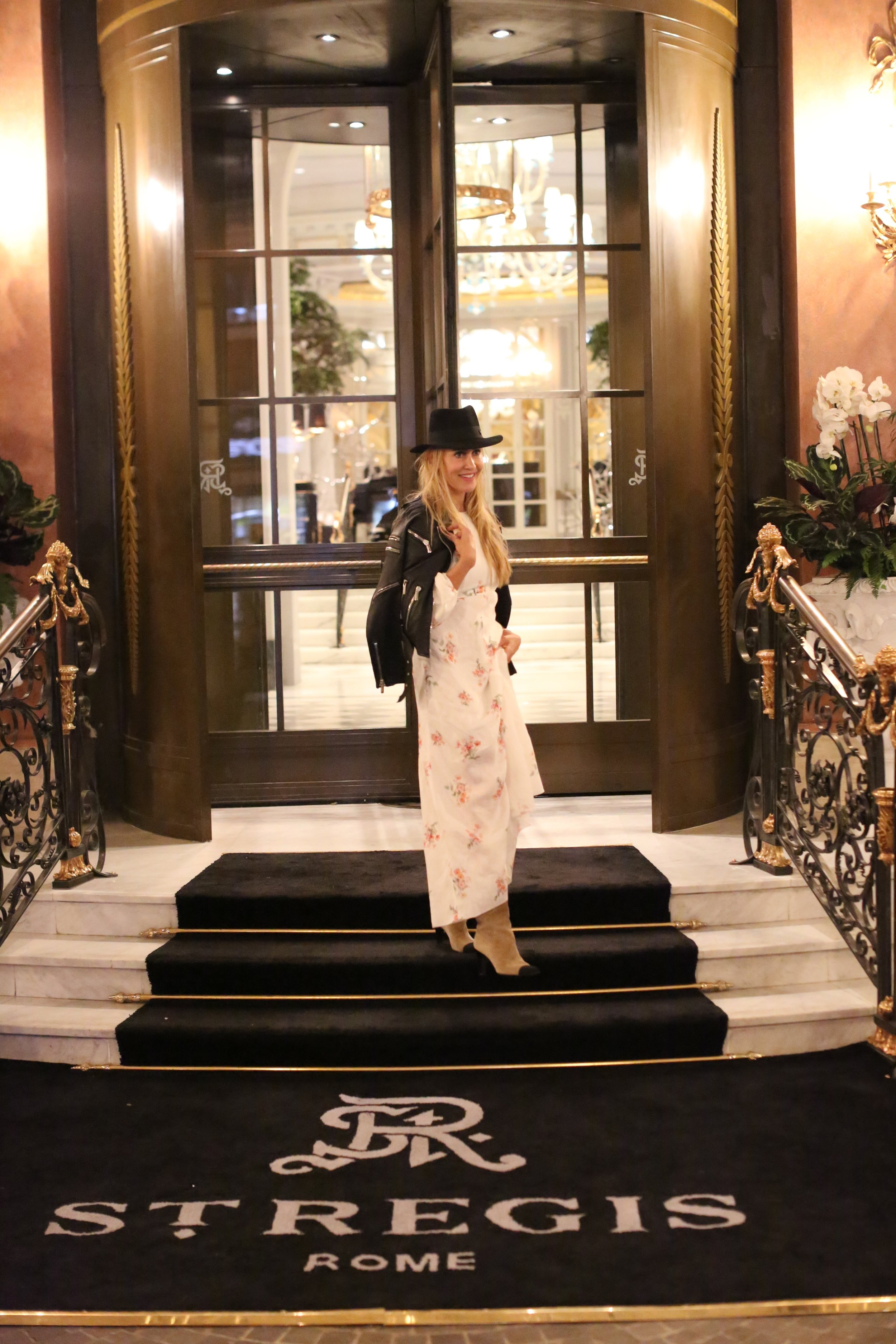 Dress by Zimmermann | Jacket by Nour Hammour | Hat by Maison Michel