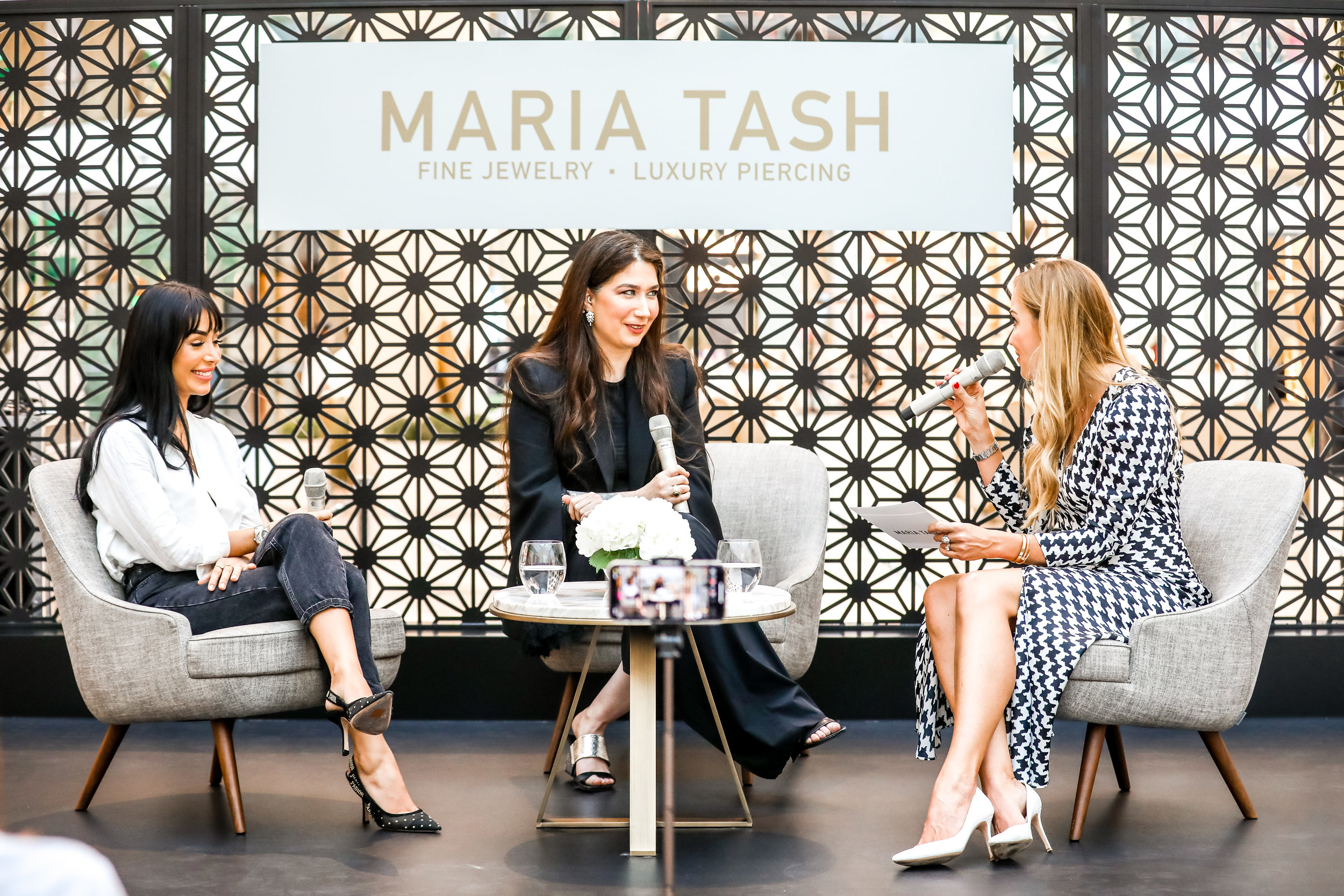 Maria Tash and vlogger Maya Ahmad panel, The Dubai Mall, April 2019