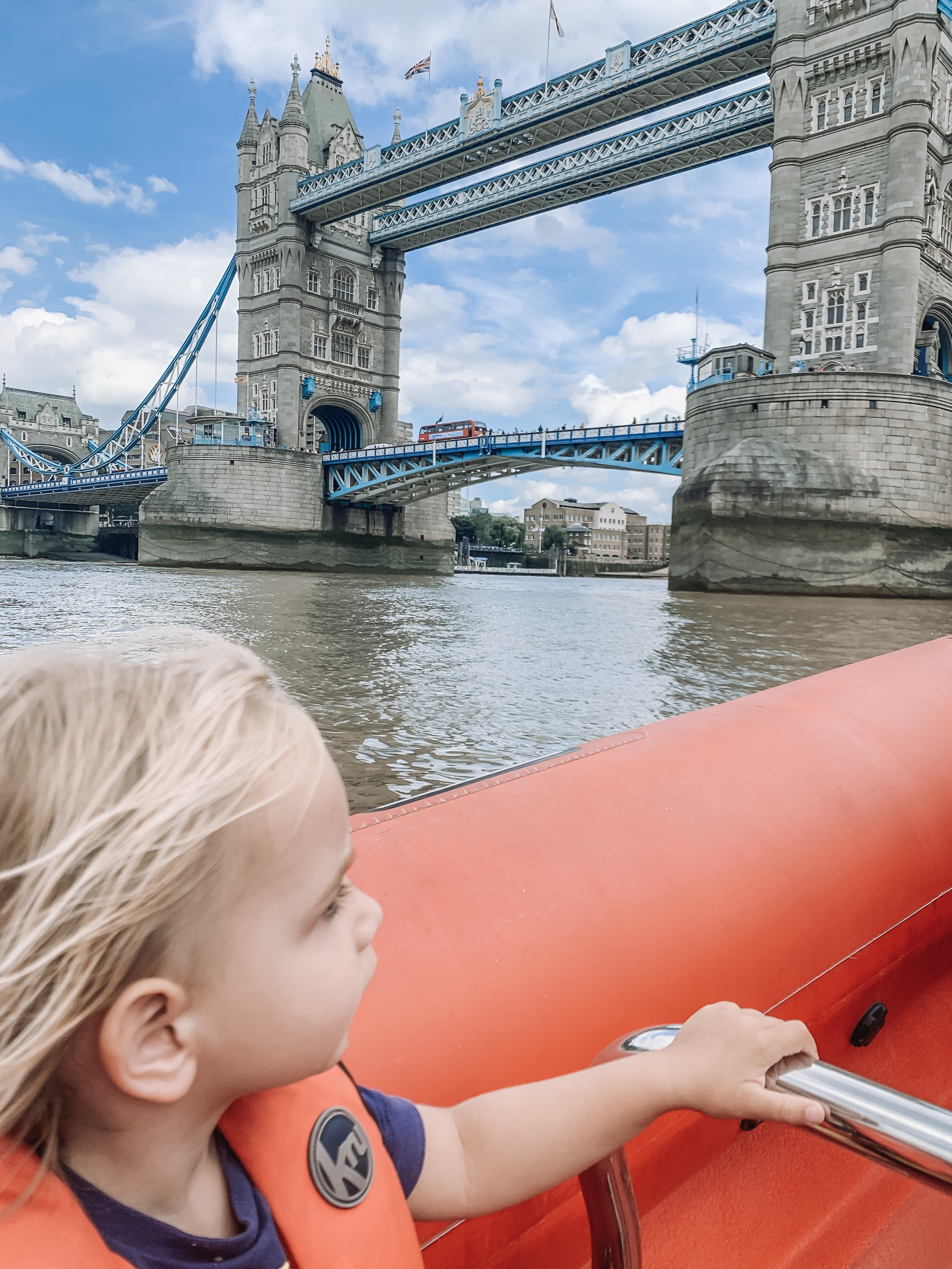 Two-year-old Kit speeding under Tower Bridge with Thames Rockets