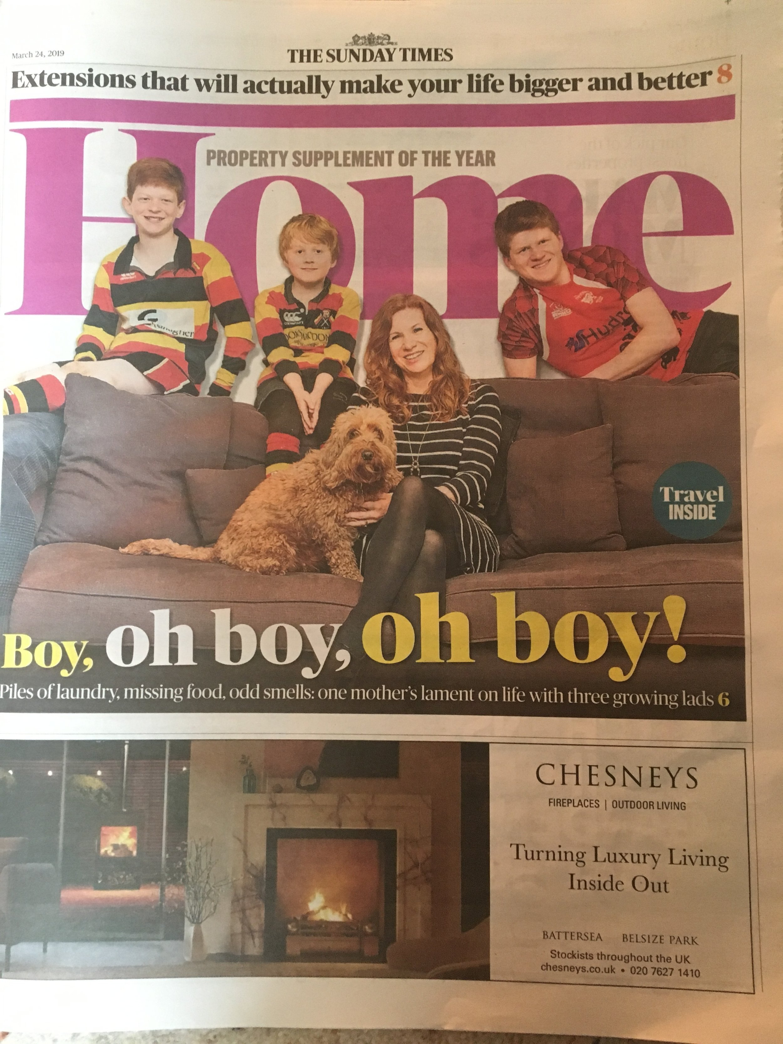 JANE  lamp shade,  SARAH  lamp and  PHILIPPA  and  SUE  lumbar cushions featured in The Sunday Times Home section and on  thetimes.co.uk  - 24.03.19